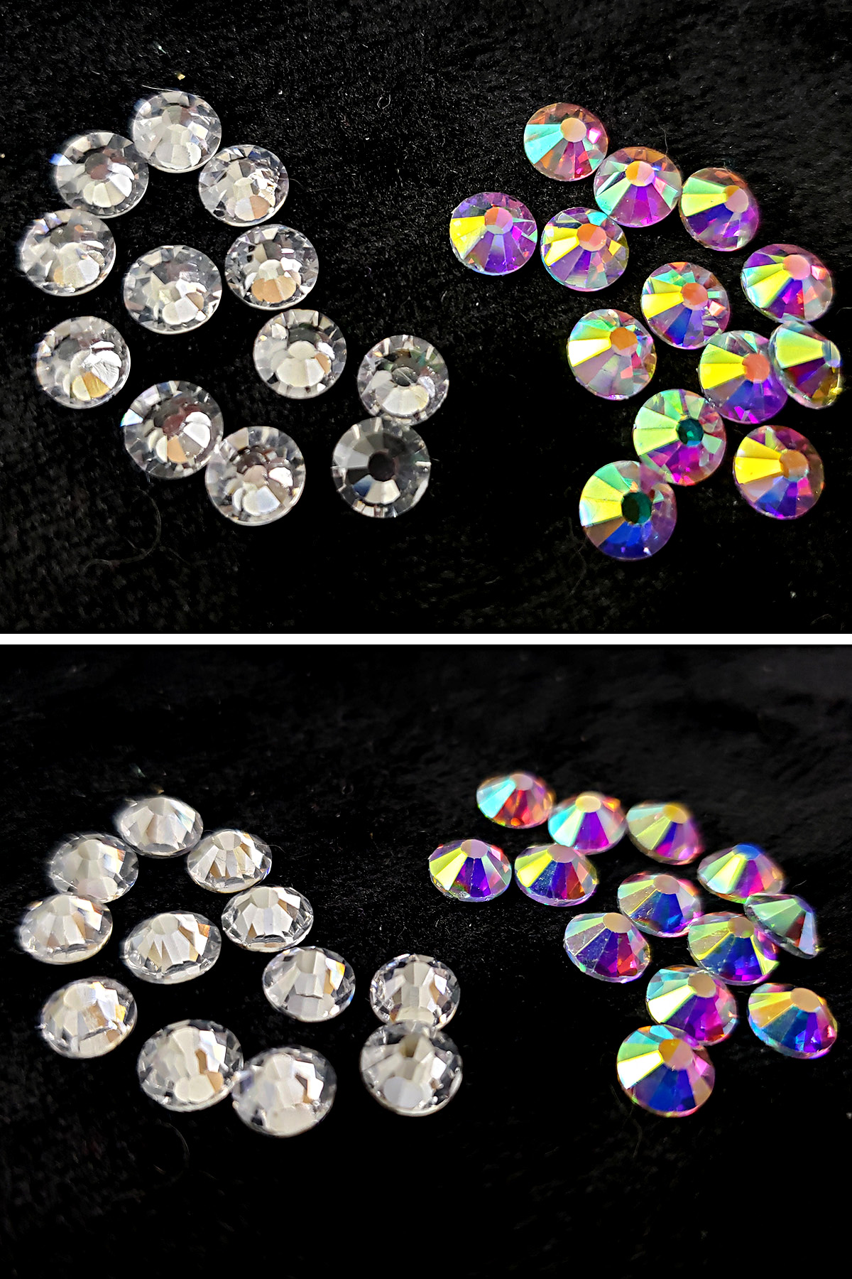 A two part compilation image showing side by side views of clear and iridescent rhinestones.