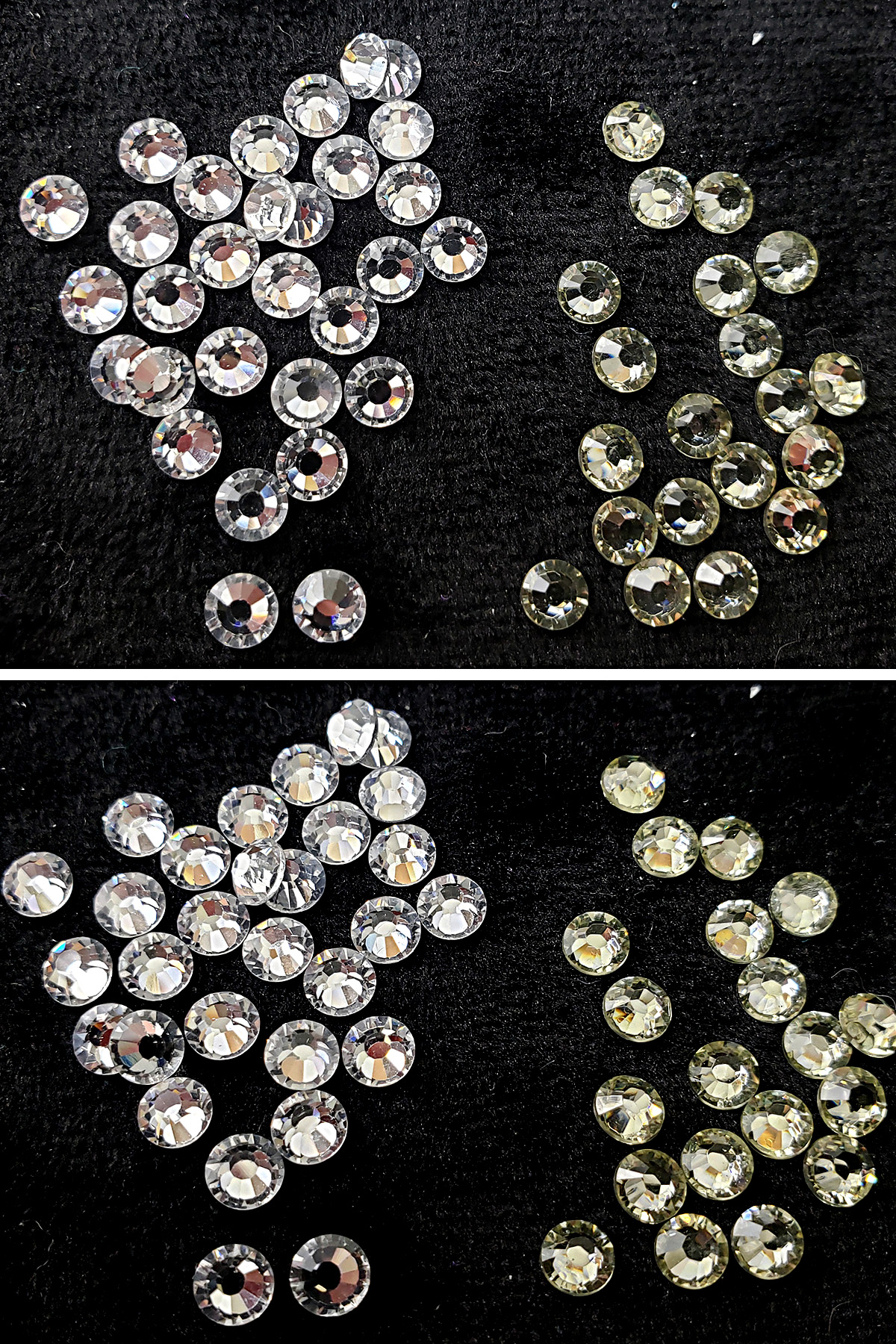 A two part compilation image comparing two different types of clear rhinestones.