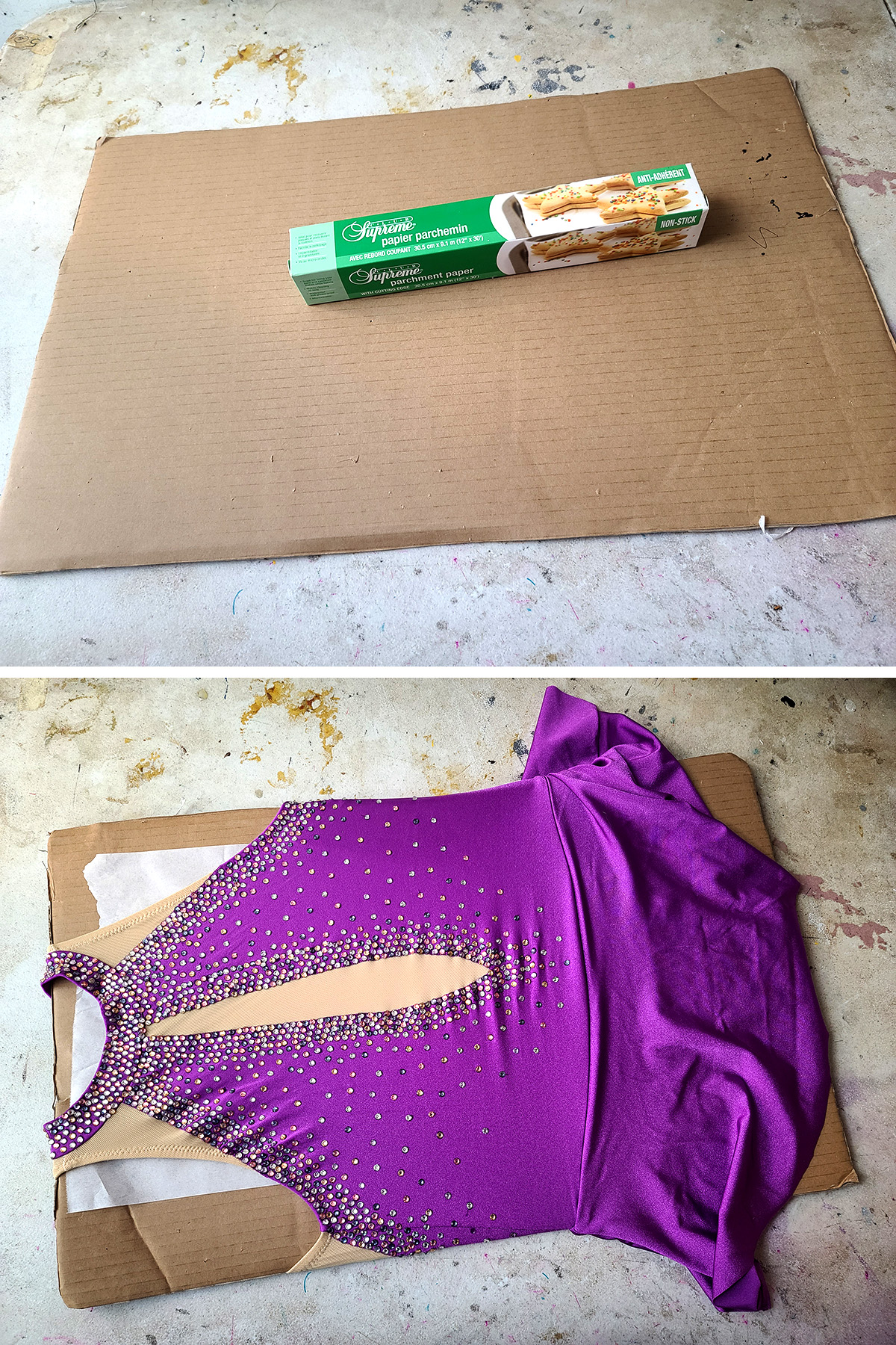 A two part compilation image shows a piece of thick cardboard with a box of parchment paper on top, and then a purple skating dress stretched over the cardboard, with a sheet of parchment paper shown sticking out from between the dress and the board.