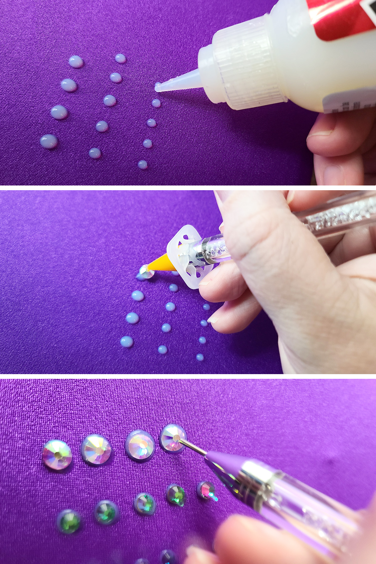 A three part compilation image showing glue being piped onto a purple skating dress, crystals being placed, and the crystals being pushed down into place.