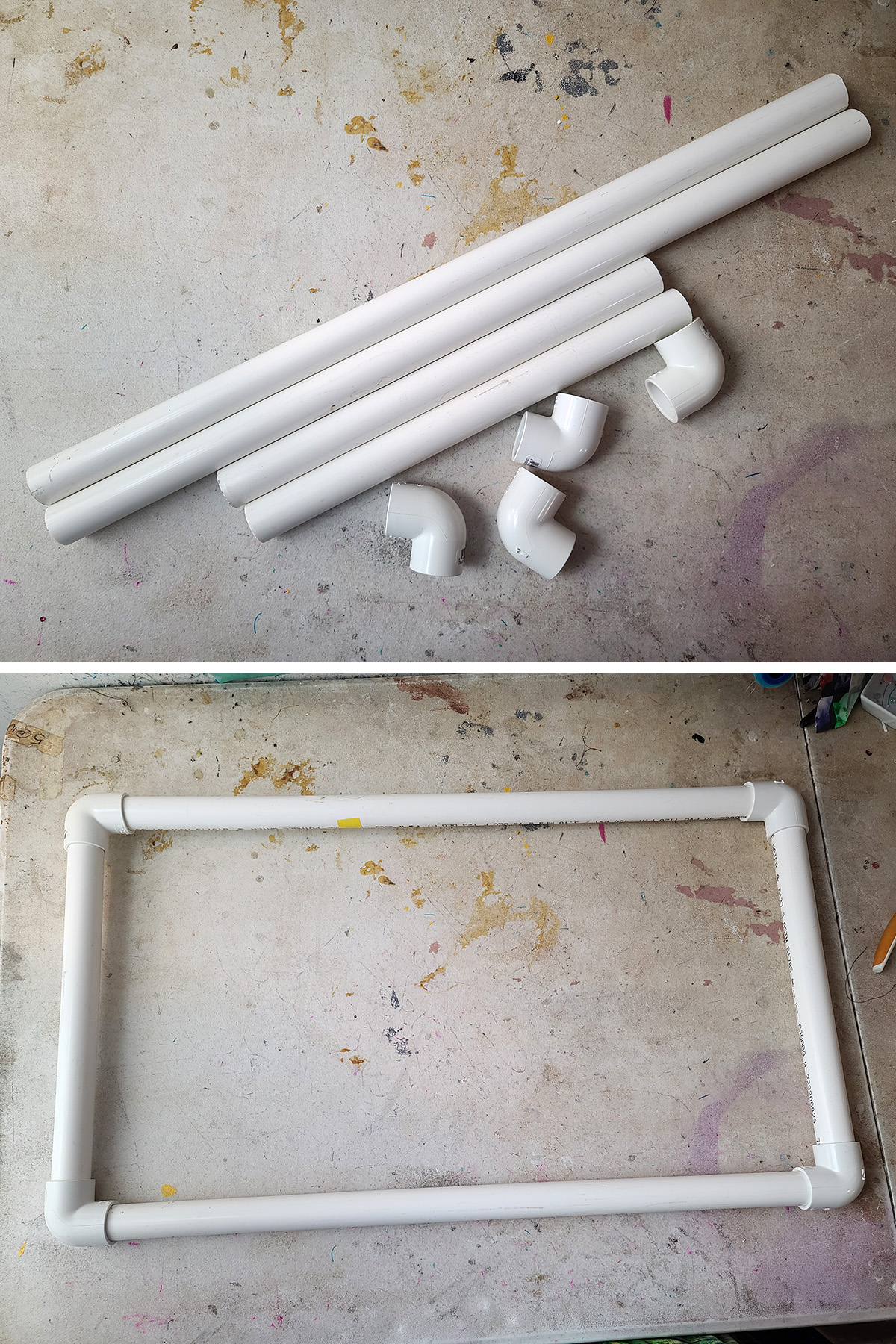A two part compilation image showing 4 pieces of white PVC pipe and connectors, and then those pieces assembled to make a rectangle.