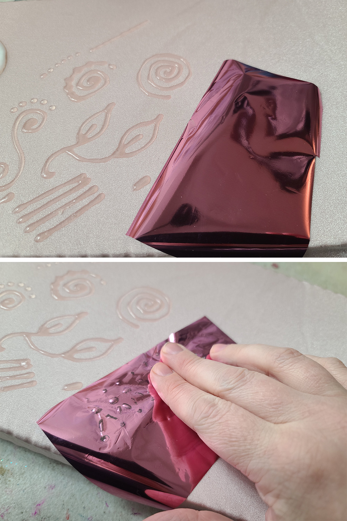 A two part compilation image showing a piece of pink foil being laid over piped glue designs, and a hand rubbing it.