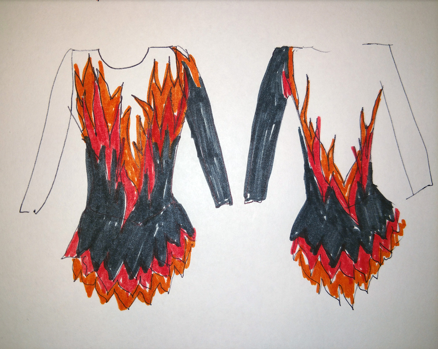 A very rough sketch of the front and back views of a skating dress that is black and beige with a flames design separating the two.
