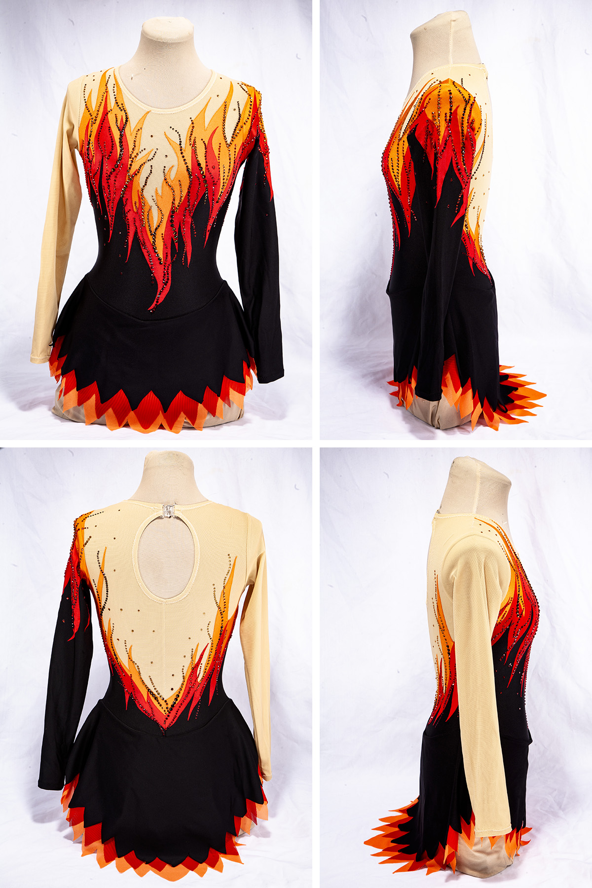 A 4 part compilation image showing front, back, and side views of the flames skating dress. The main body is black, one sleeve and the shoulders, upper chest, and one sleeve is beige, and a bright red and orange flames design separates the beige and black areas. In this version, the dress has been heavily crystalled.