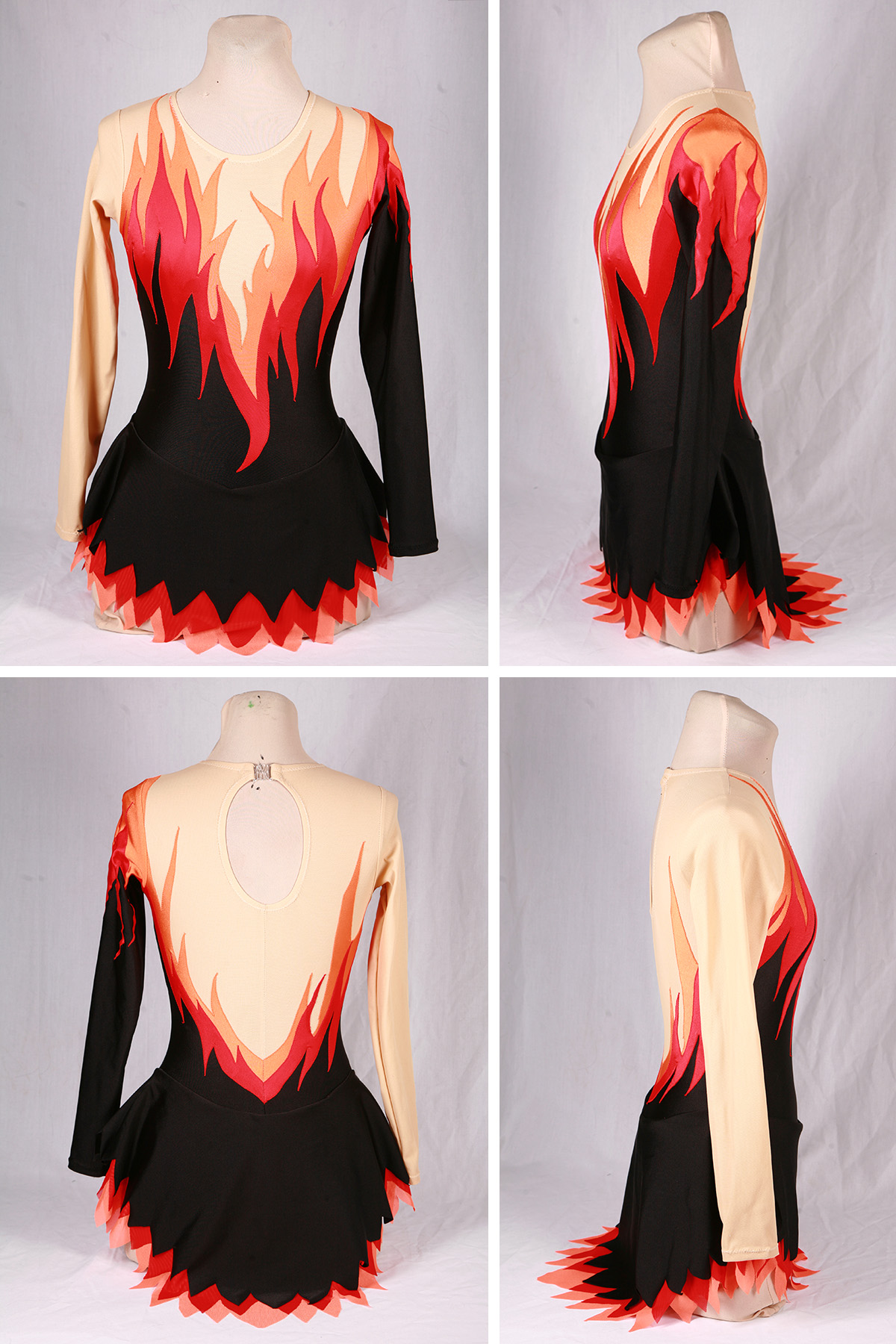 A 4 part compilation image showing front, back, and side views of the flames skating dress. The main body is black, one sleeve and the shoulders, upper chest, and one sleeve is beige, and a bright red and orange flames design separates the beige and black areas.