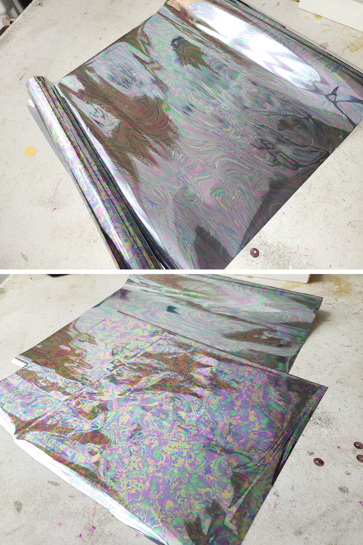 Two different views of silver/rainbow holographic foil paper.
