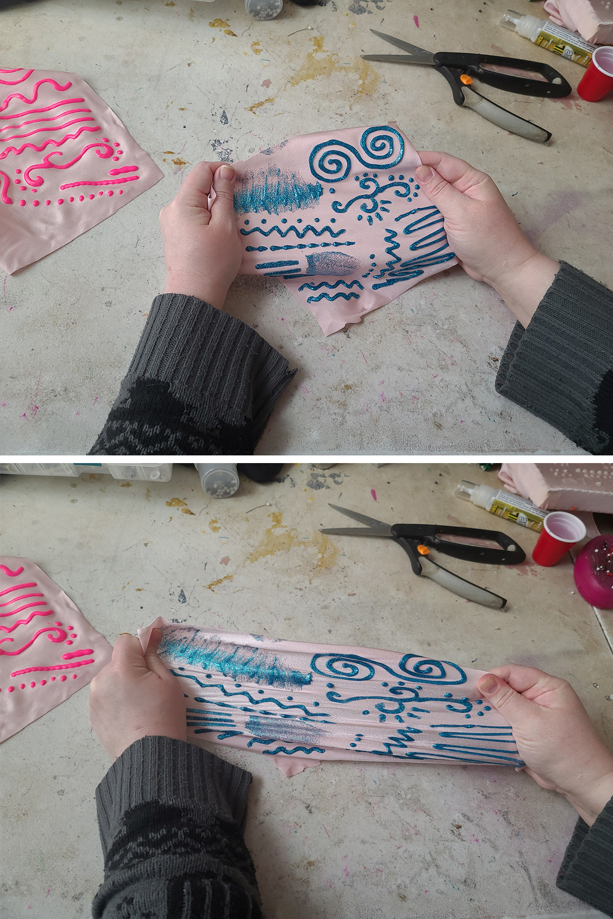 A two-part compilation image showing two hands holding a piece of light pink spandex with blue glitter paint swirls on it. The top image shows it relaxed, the second image shows the fabric being stretched to its limit.