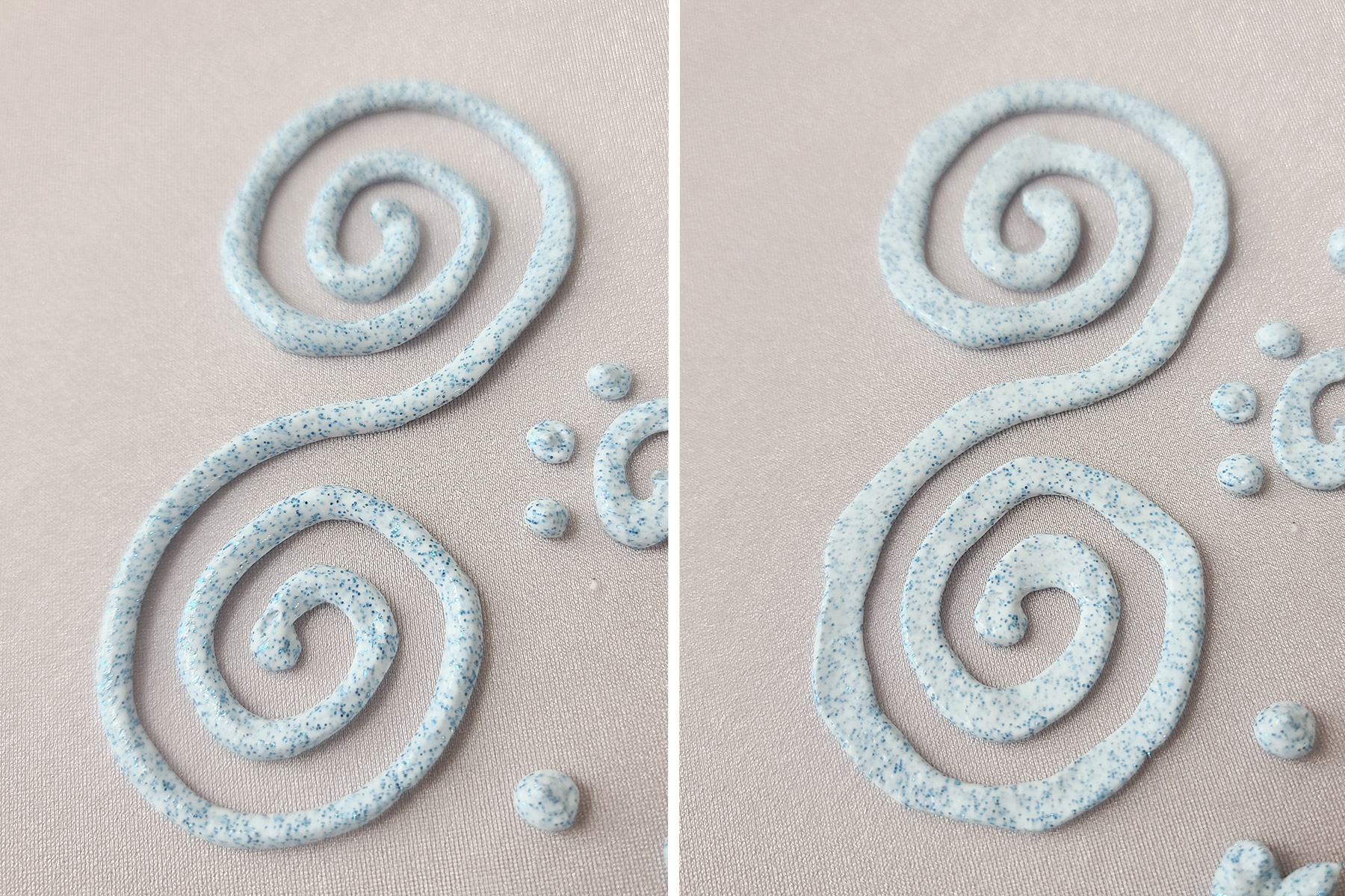 A side by side comparison of a blue stretch glitter paint swirl, before and after being smoothed.