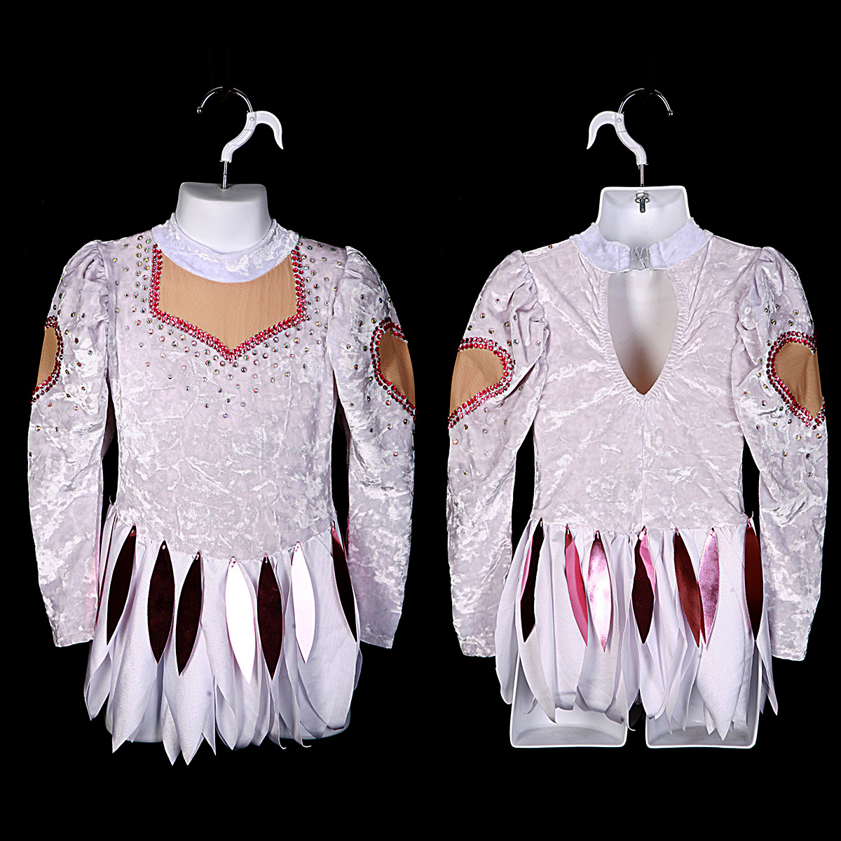 Front and Back views of a small white figure skating dress.