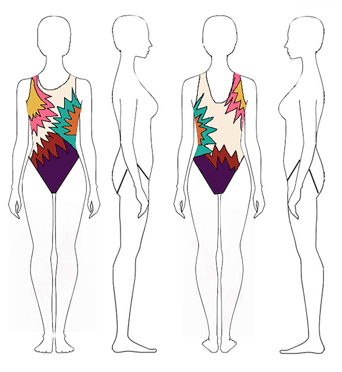 A sketch of 4 female figure outlines, showing front, back, right, and left views. The front and back views feature a synchro swimsuit design in bright coloured.