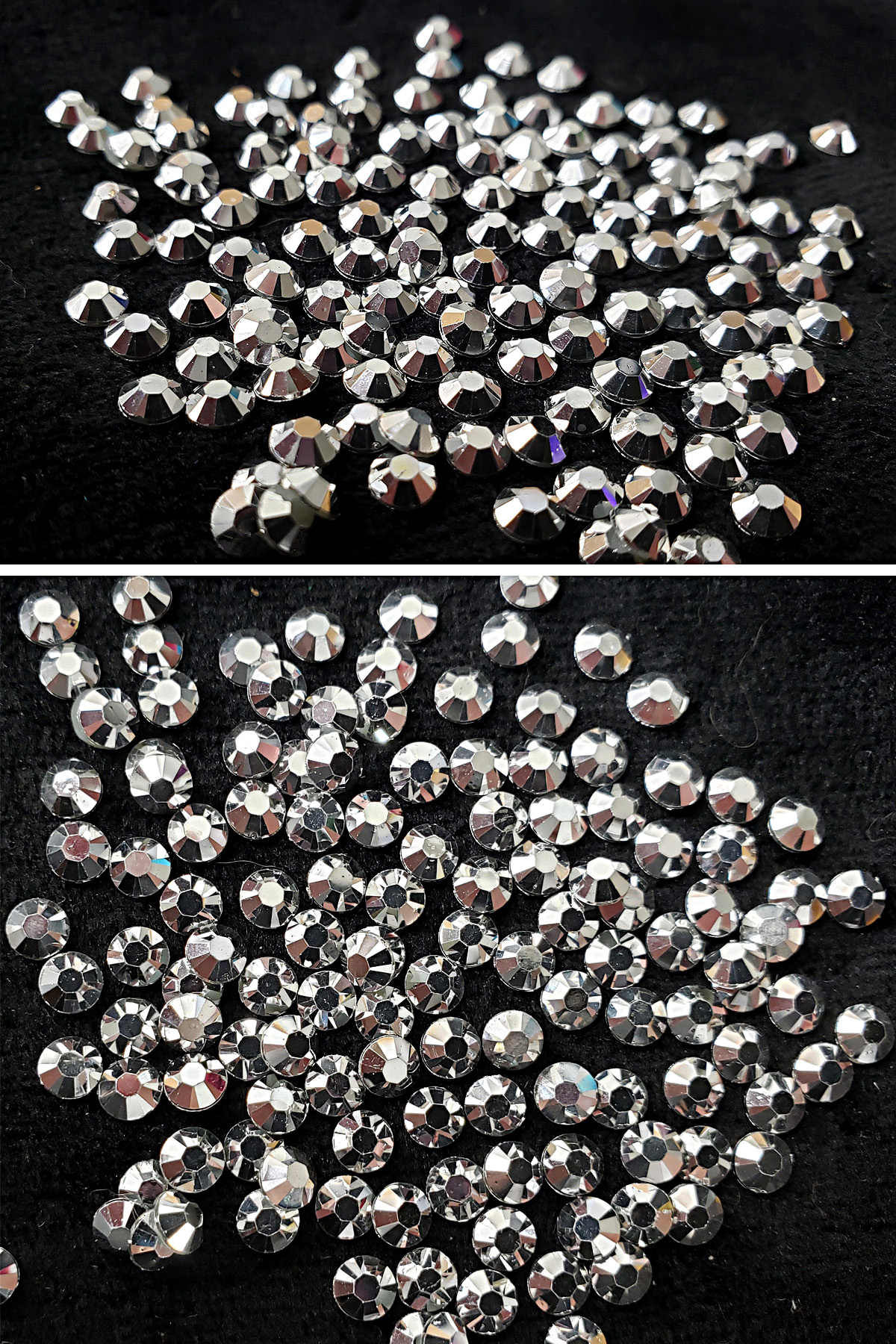 A two part image showing different views of a large pile of silver metallic crystals.