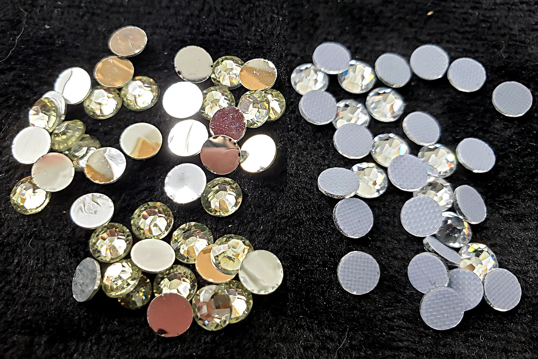 A side by side image comparing two small piles of clear rhinestones, against a black background. The crystals in the pile on the right have a textured backing.