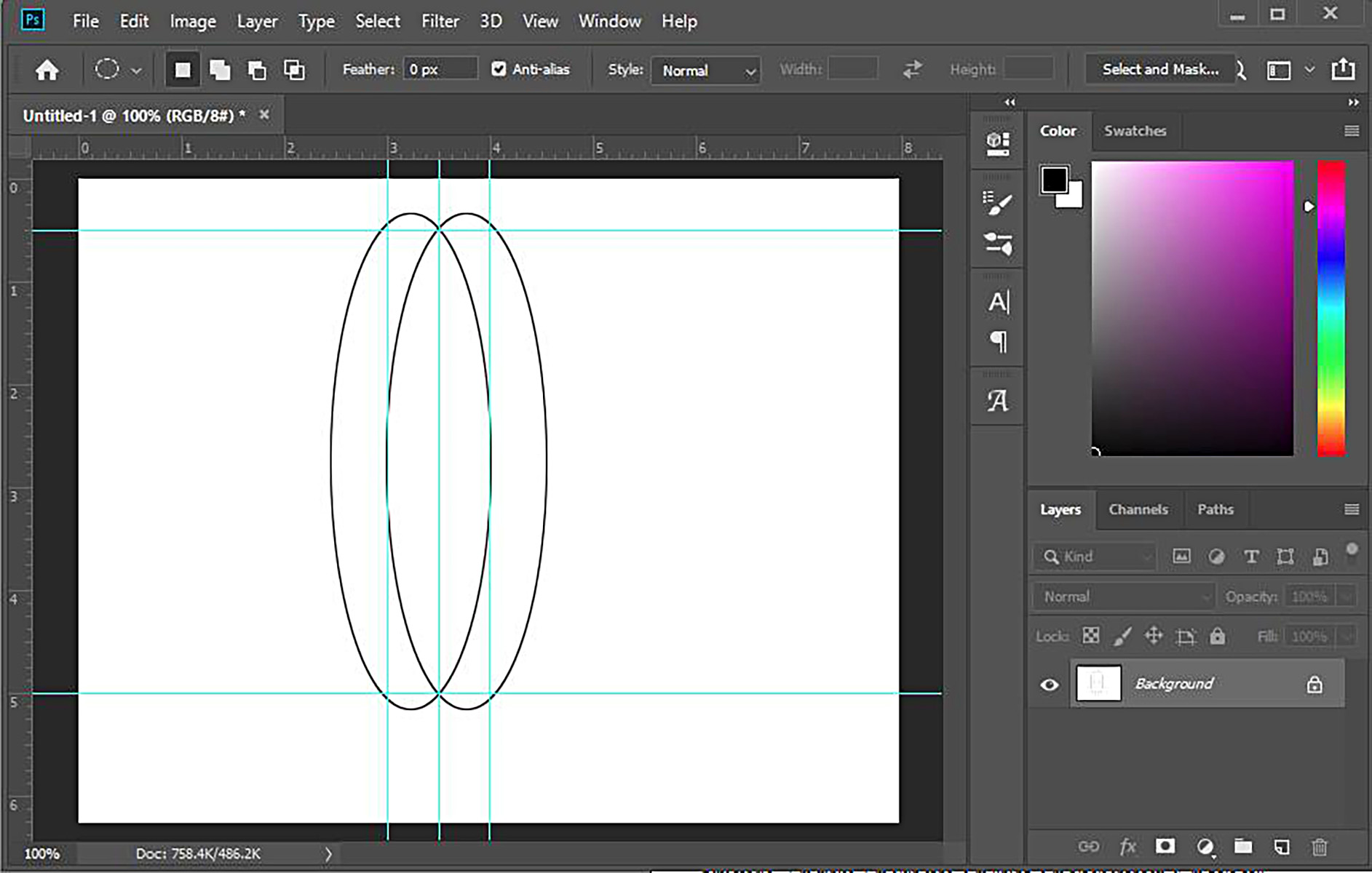 A screen shot of a Photoshop work space, with a pattern for a long, narrow shape being drafted.