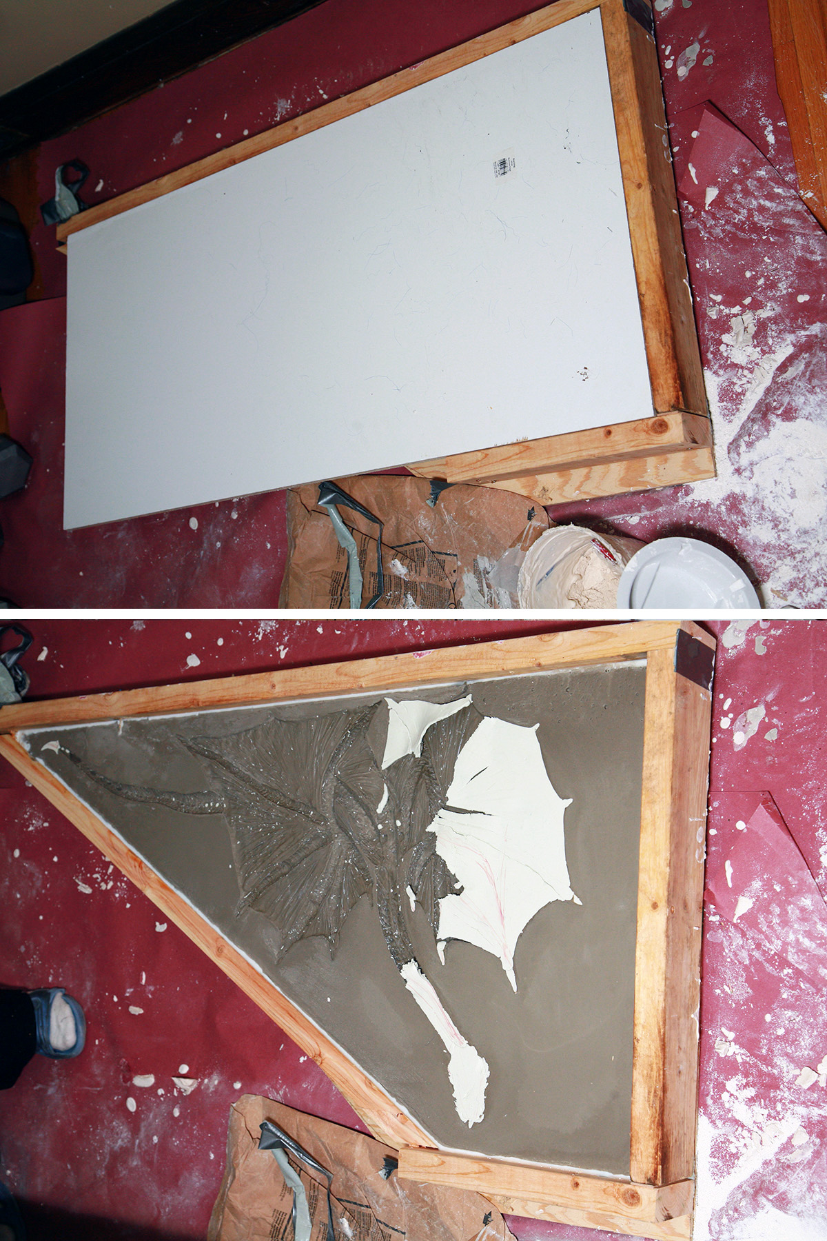 A two part compilation image showing the inverted mold with the white board on top, and then with the white board - and a fair amount of clay - removed.