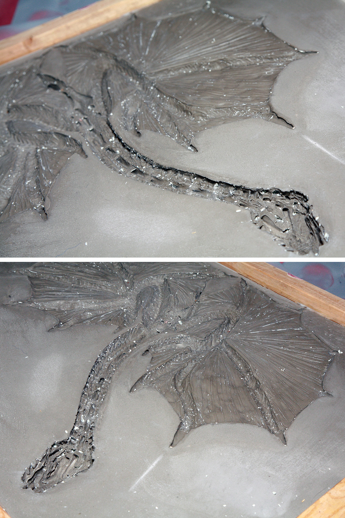 A two part compilation image showing different close up views of the plaster mold that will be used to make the dragon top.