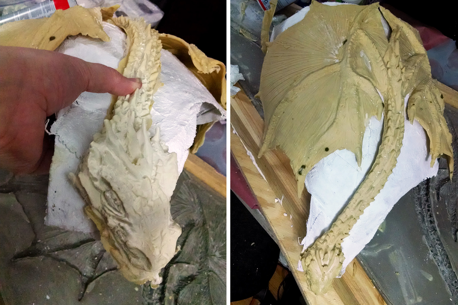 A two part image showing full and close up views of the very freshly unmolded dragon top being molded over a plaster torso form.
