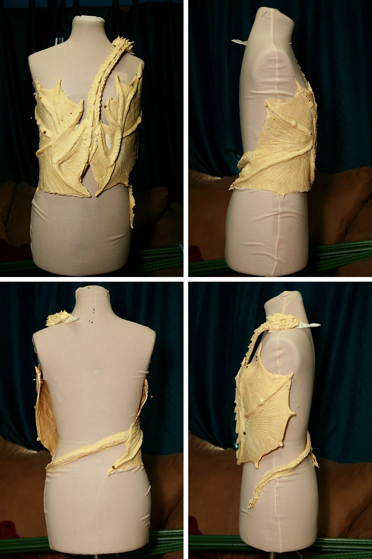 A 4 part compilation image showing 4 different views of the freshly unmolded - and beige - latex dragon top, set up on a dress form.