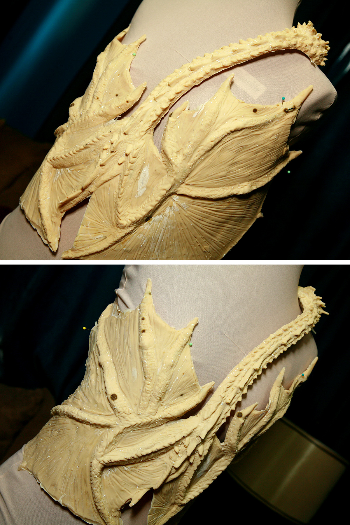 A 2 part compilation image, showing 2 different views of the freshly unmolded - and beige - latex dragon top, set up on a dress form.