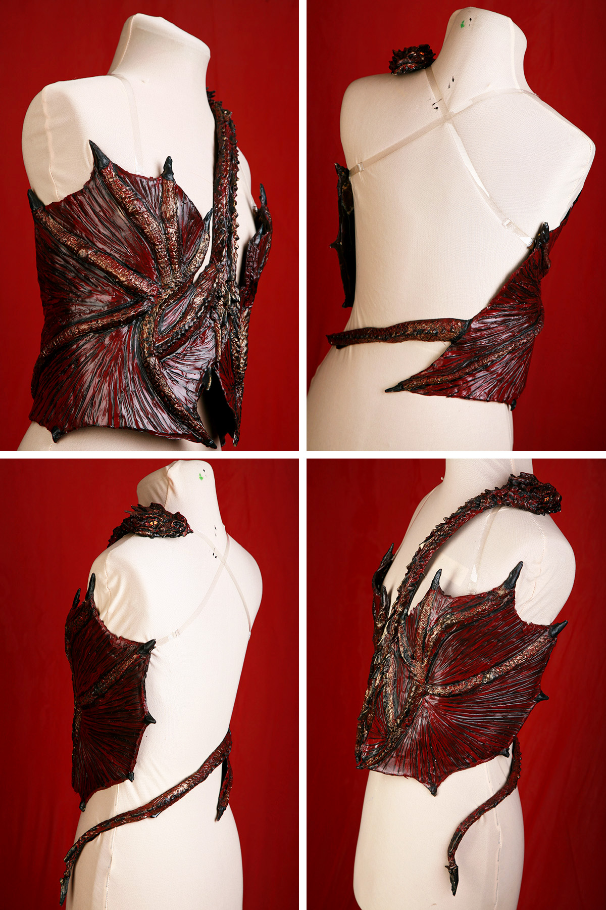 A 4 part compilation image showing the finished latex dragon top on a dress form, from 4 different views.