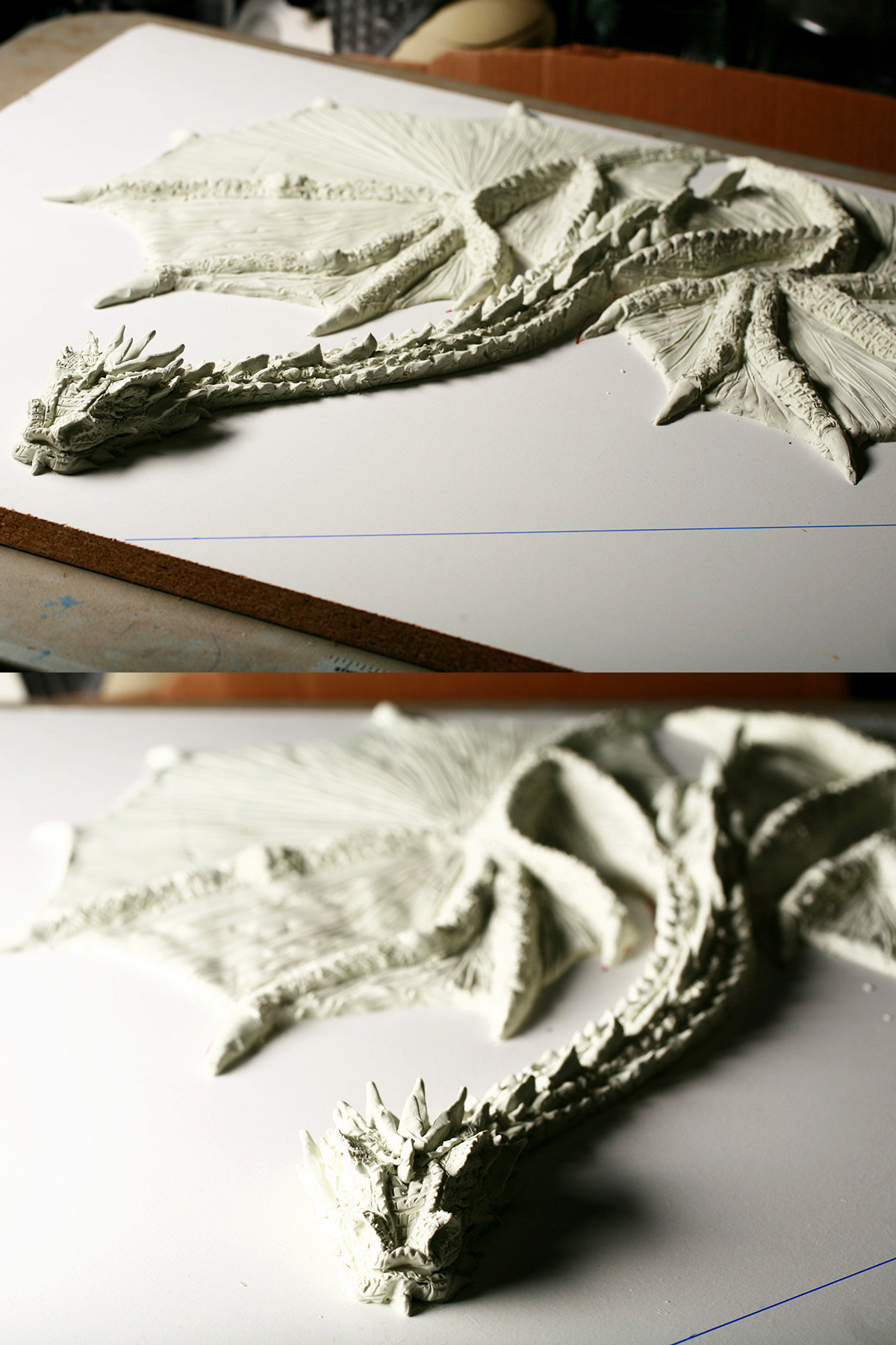 A two part compilation imahe showing different views of the clay sculpted Smaug dragon's full body.