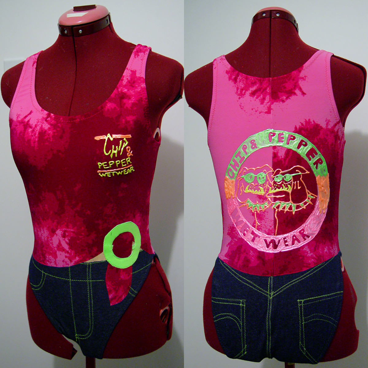Front and back views of a swimsuit that is made to look like a tie dyed Chip & Pepper tshirt.