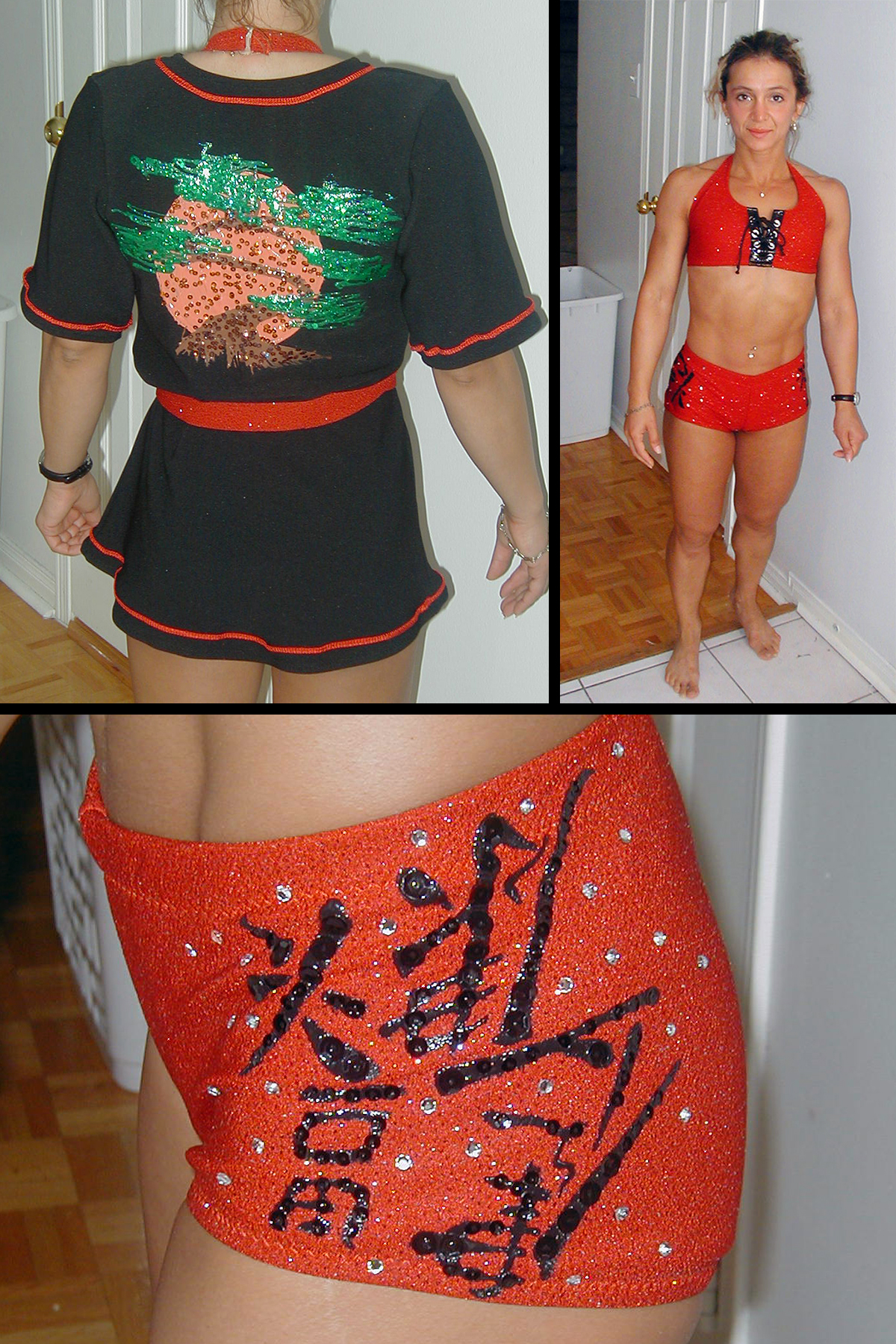 A 3 part compilation image showing a red and black fitness competition outfit.