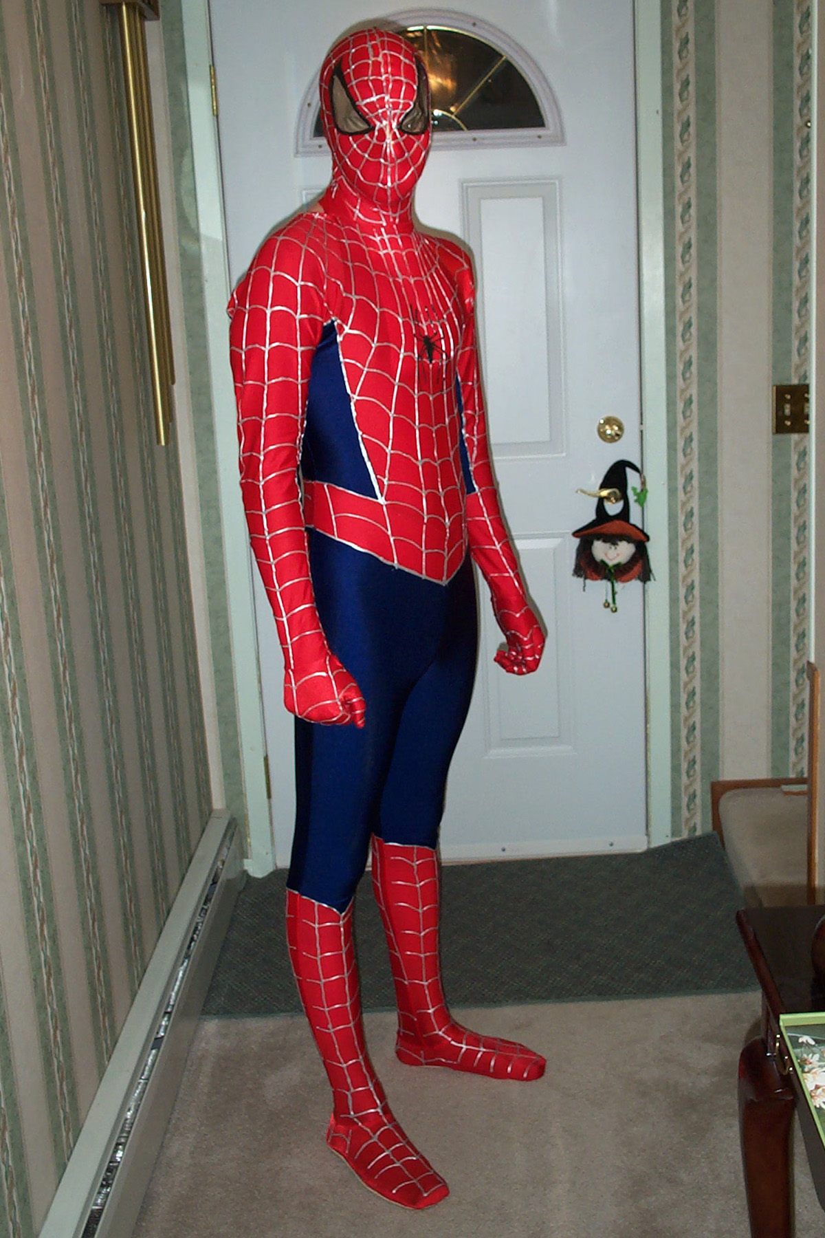 A man standing in a hallway, wearing a Spiderman costume.