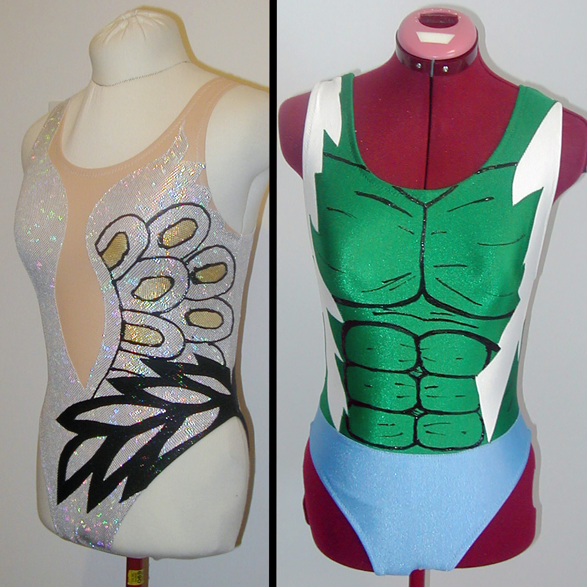 A two part image showing a white Swan lake inspired synchro swim suit next to a white, green, and blue Incredible Hulk swimsuit.