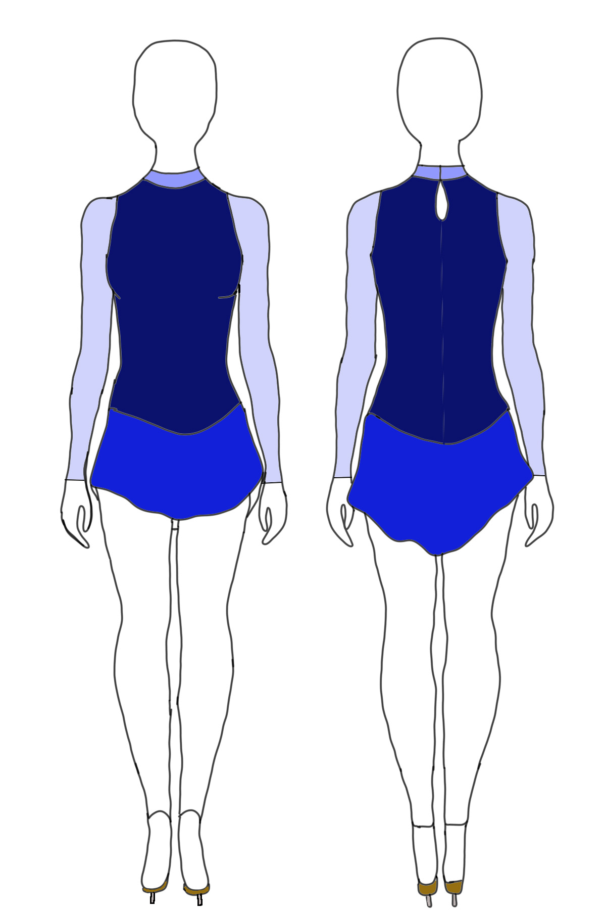 A sketch of the front and back views of a blue figure skating dress.  The bodice, skirt, sleeves, and collar are all in different shades of blue.