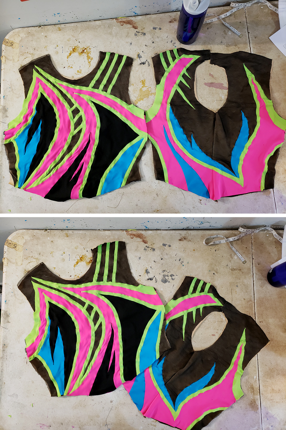 A two part compilation image showing the front and back bodice pieces of the 80's themed skating dress, side by side.
