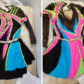A side by side image showing the front and back view of the skating dress laid out. The bodice is separate from the skirt in this picture.
