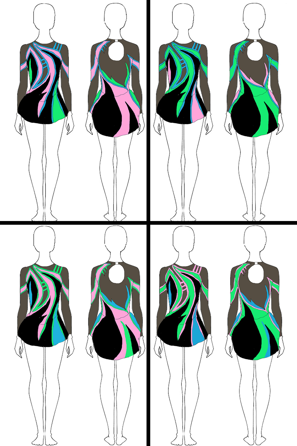 A series of sketches showing front and back views of 4 skating dresses. Each has the same graphic design, but with the placement of the colours moved around.