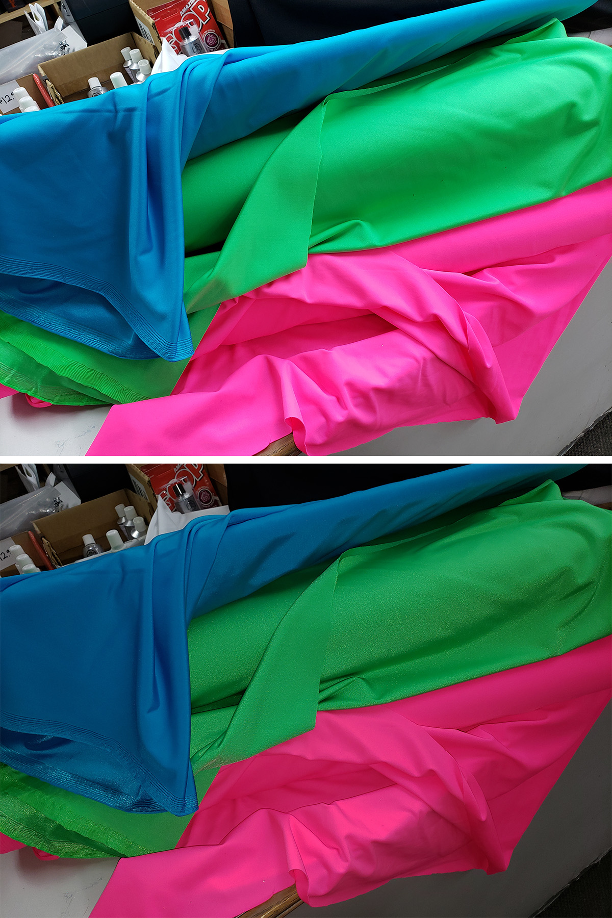 A two part comparison image showing a stack of bright blue, green, and hot pink fabrics, with and without the flash.