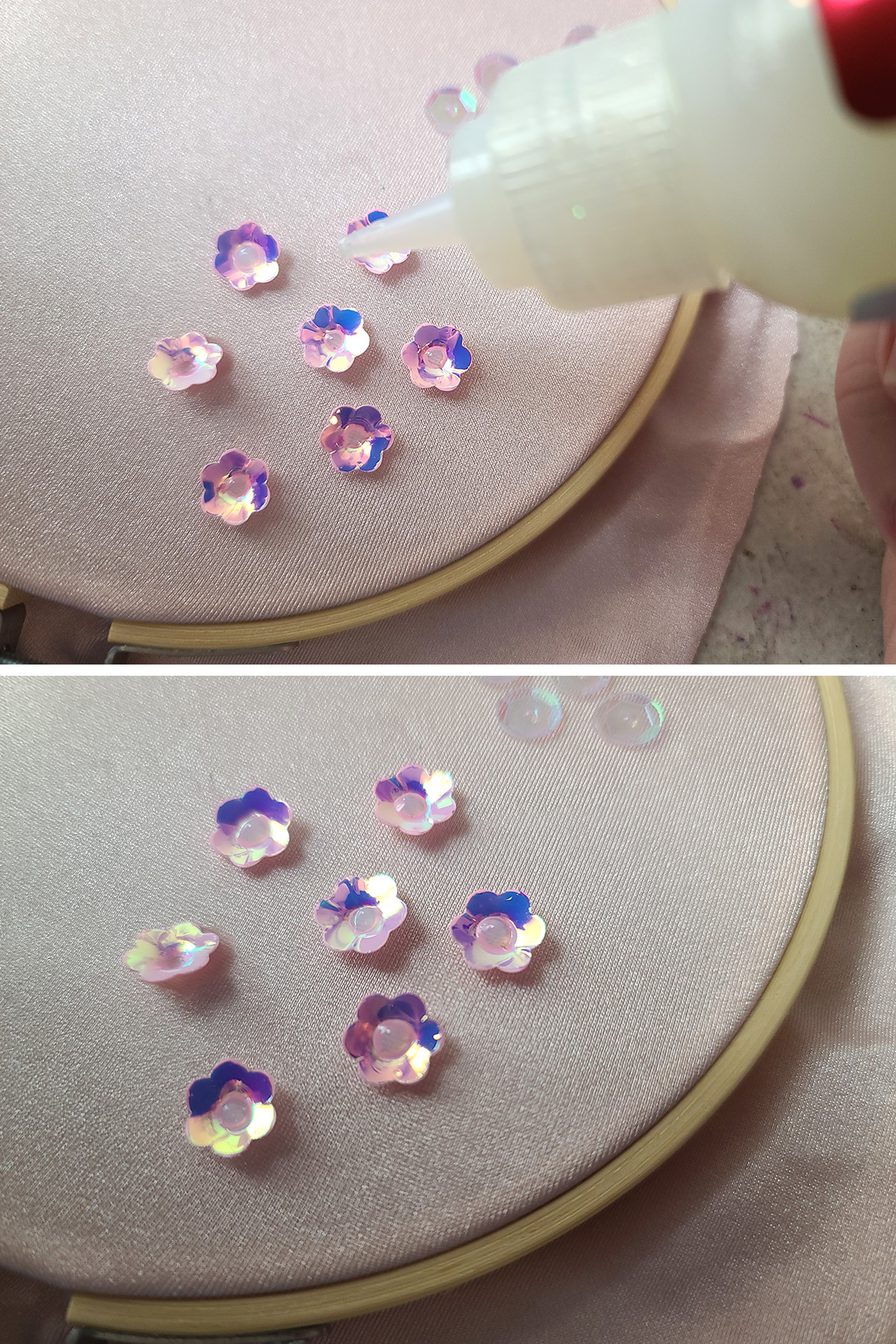 A two part compilation image showing pink iridescent sequins being glued to a piece of stretched light pink spandex, in an embroidery hoop.