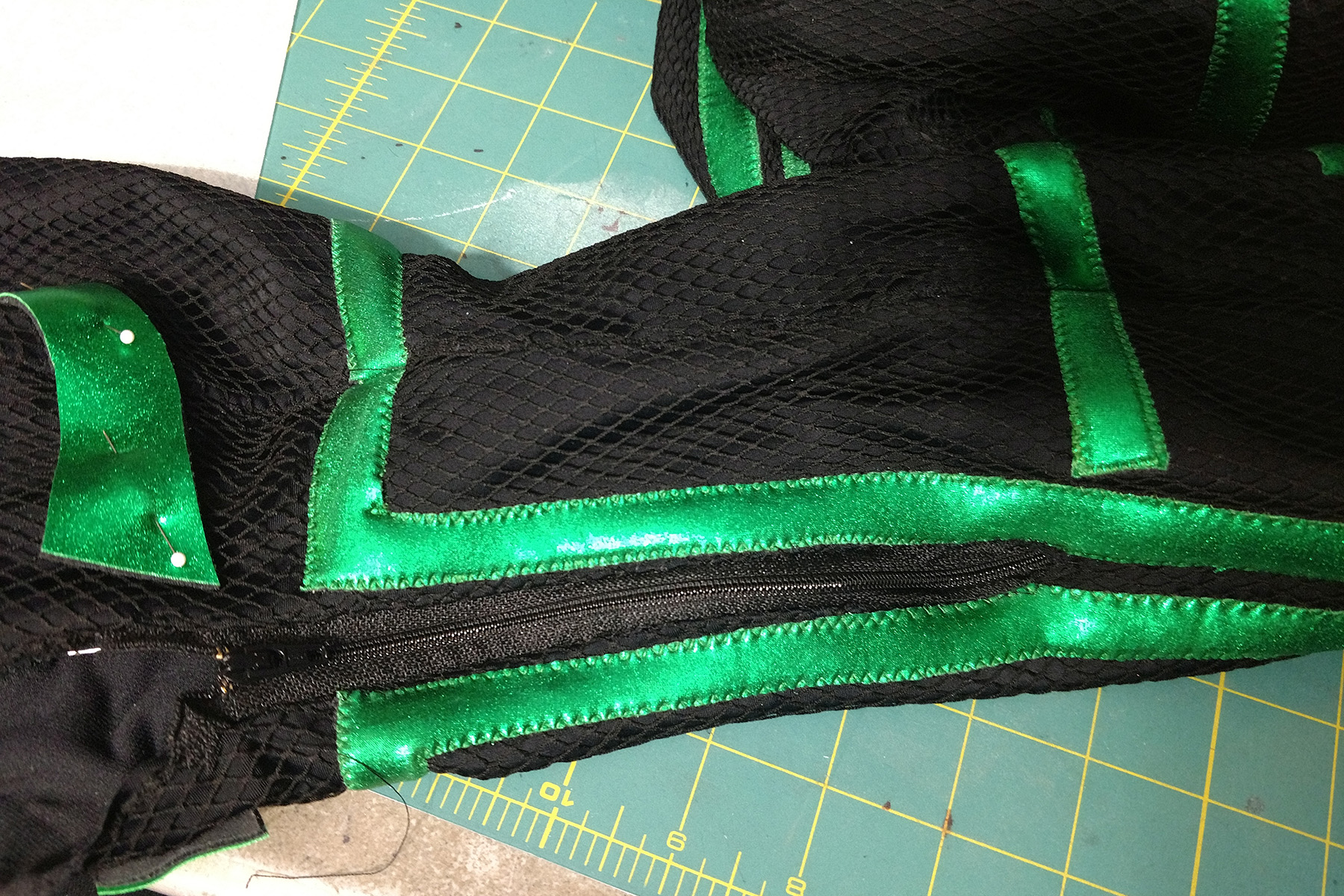A close up view of the back of the ankles, where the zippers were sewn into this Hela cosplay.