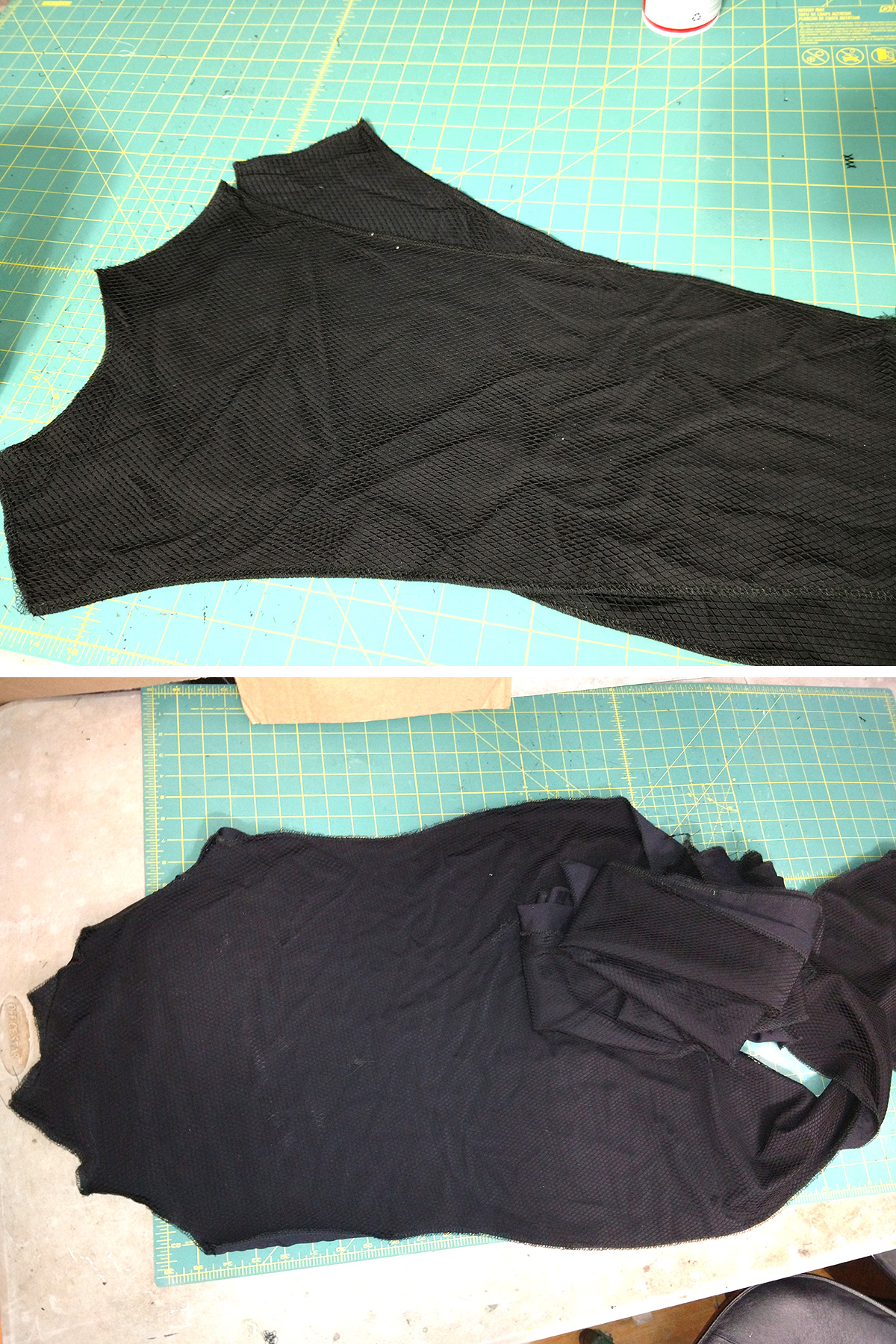 A two part compilation image showing two different pieces of the body suit, layered and stitched together as described in the post.