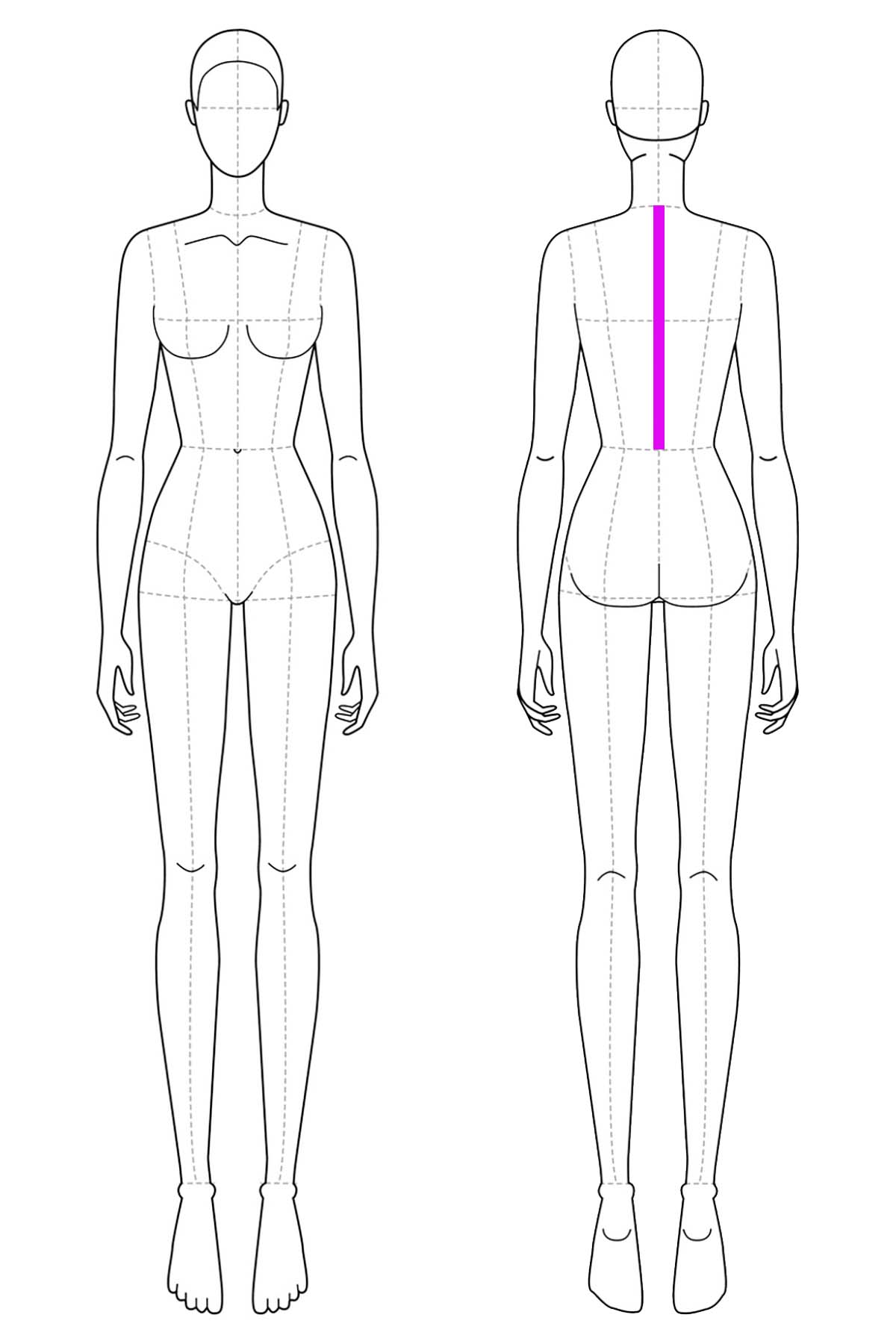 A set of line drawings of a female body, front and back views. A bright pink line has been drawn on it to indicate back waist measurement.