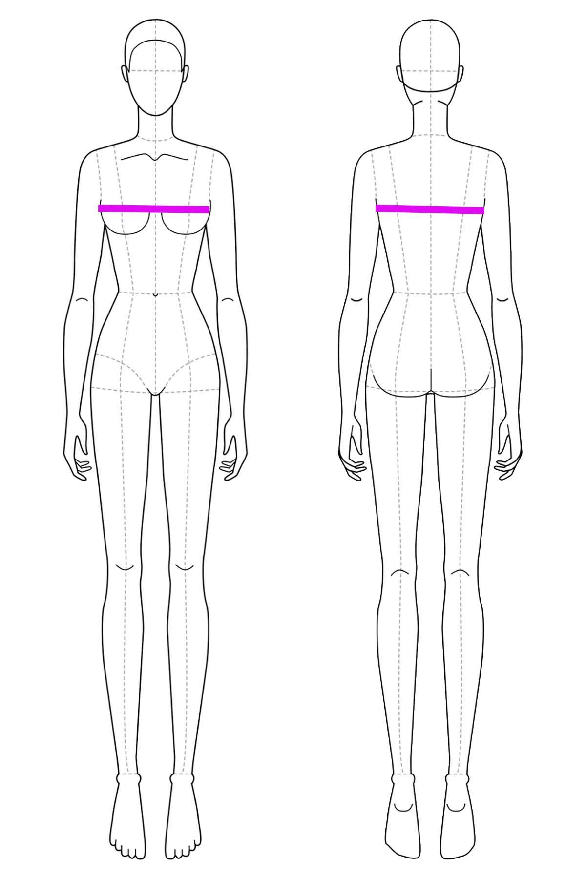A set of line drawings of a female body, front and back views. Bright pink lines are drawn across it to indicate chest or bust measurement.
