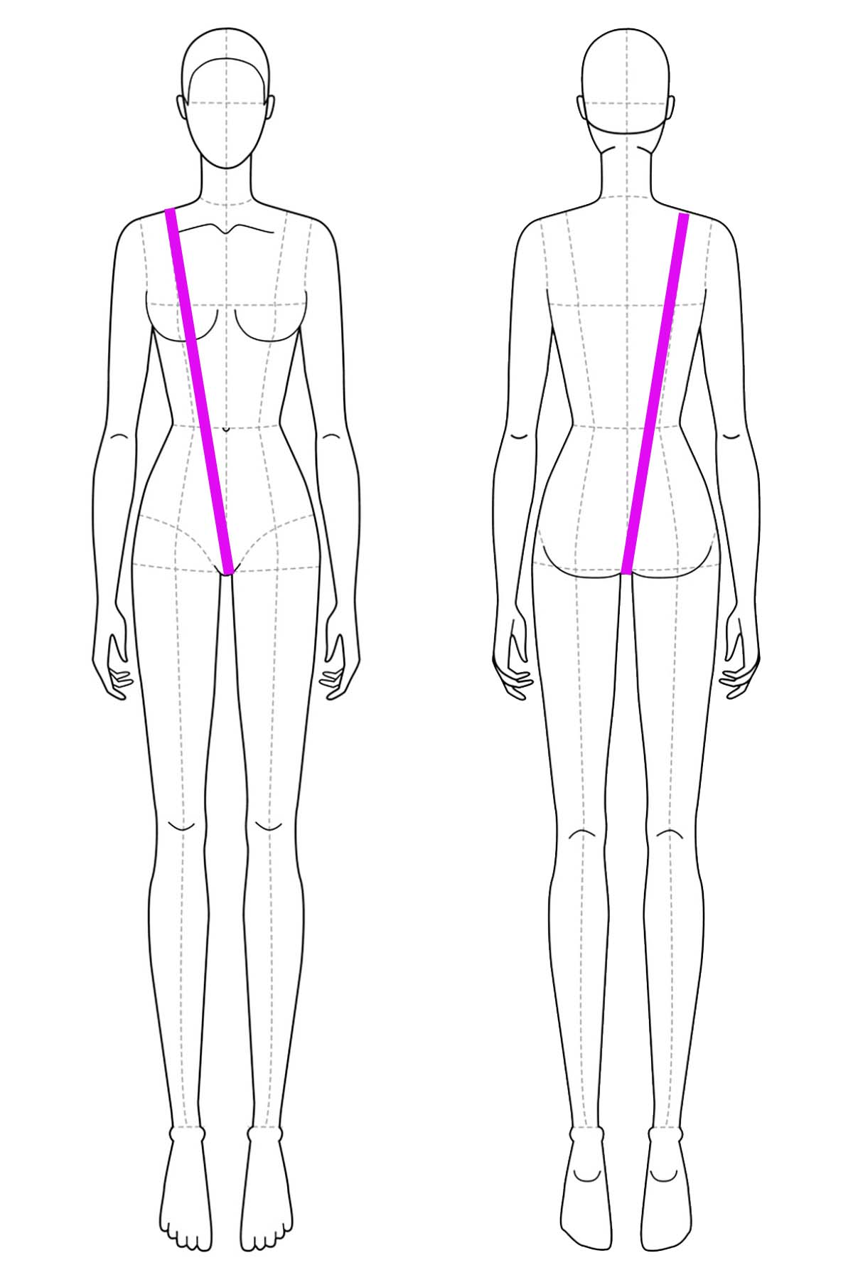 A set of line drawings of a female body, front and back views. Bright pink lines are drawn across it to indicate girth measurement.