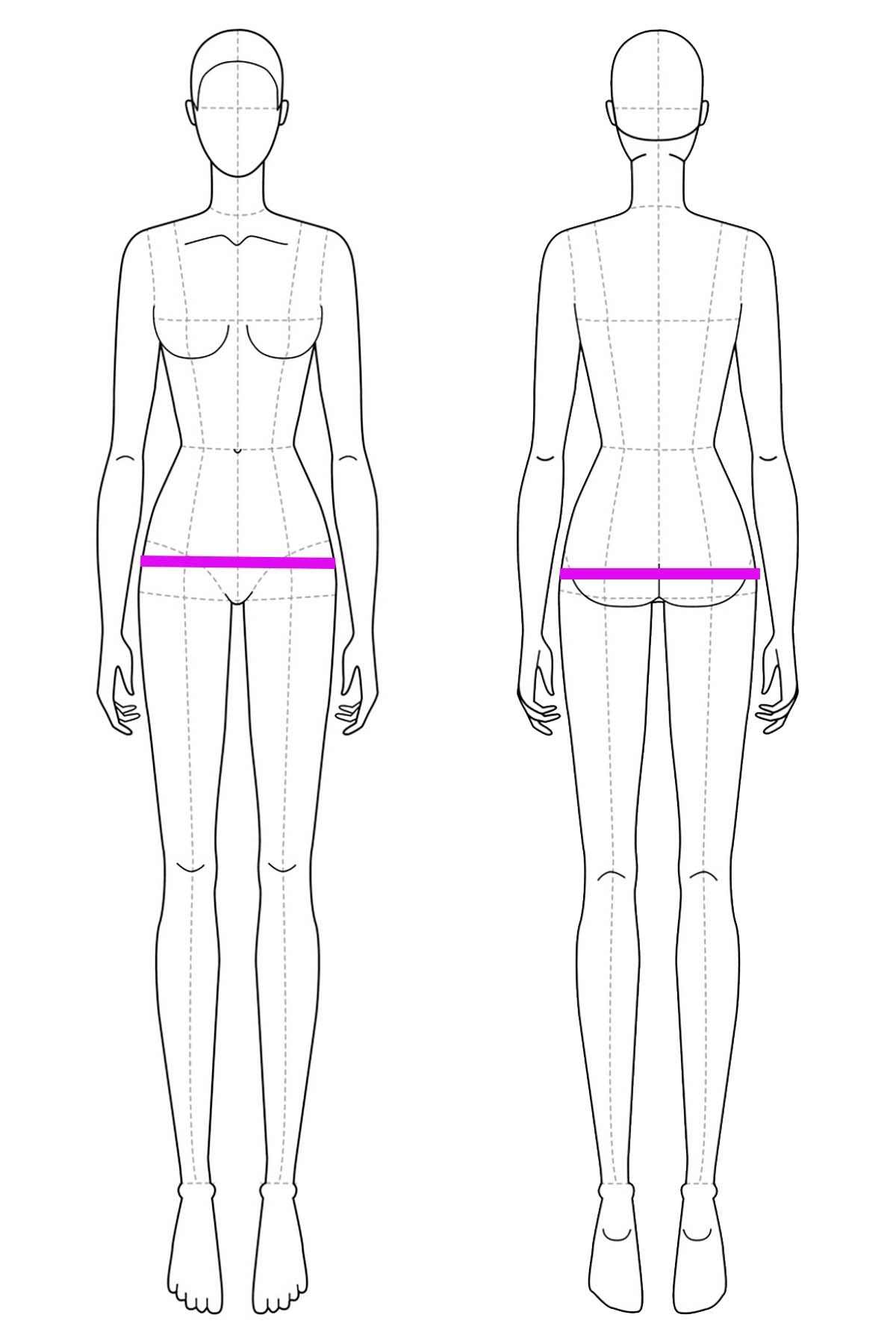 A set of line drawings of a female body, front and back views. Bright pink lines are drawn across it to indicate hip measurement placement.
