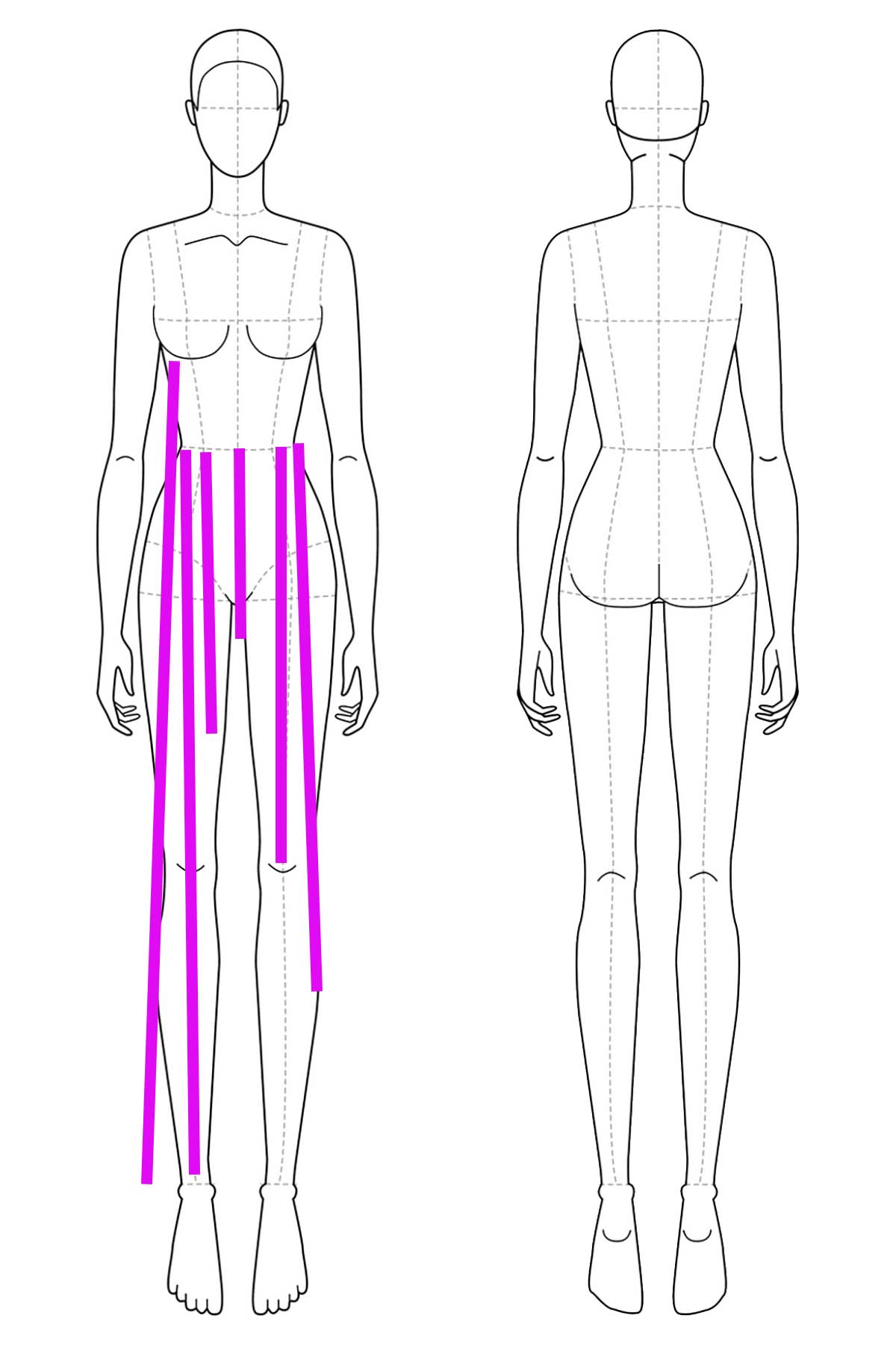 A set of line drawings of a female body, front and back views. A series of bright pink lines have been drawn on it to indicate multiple skirt length measurements.