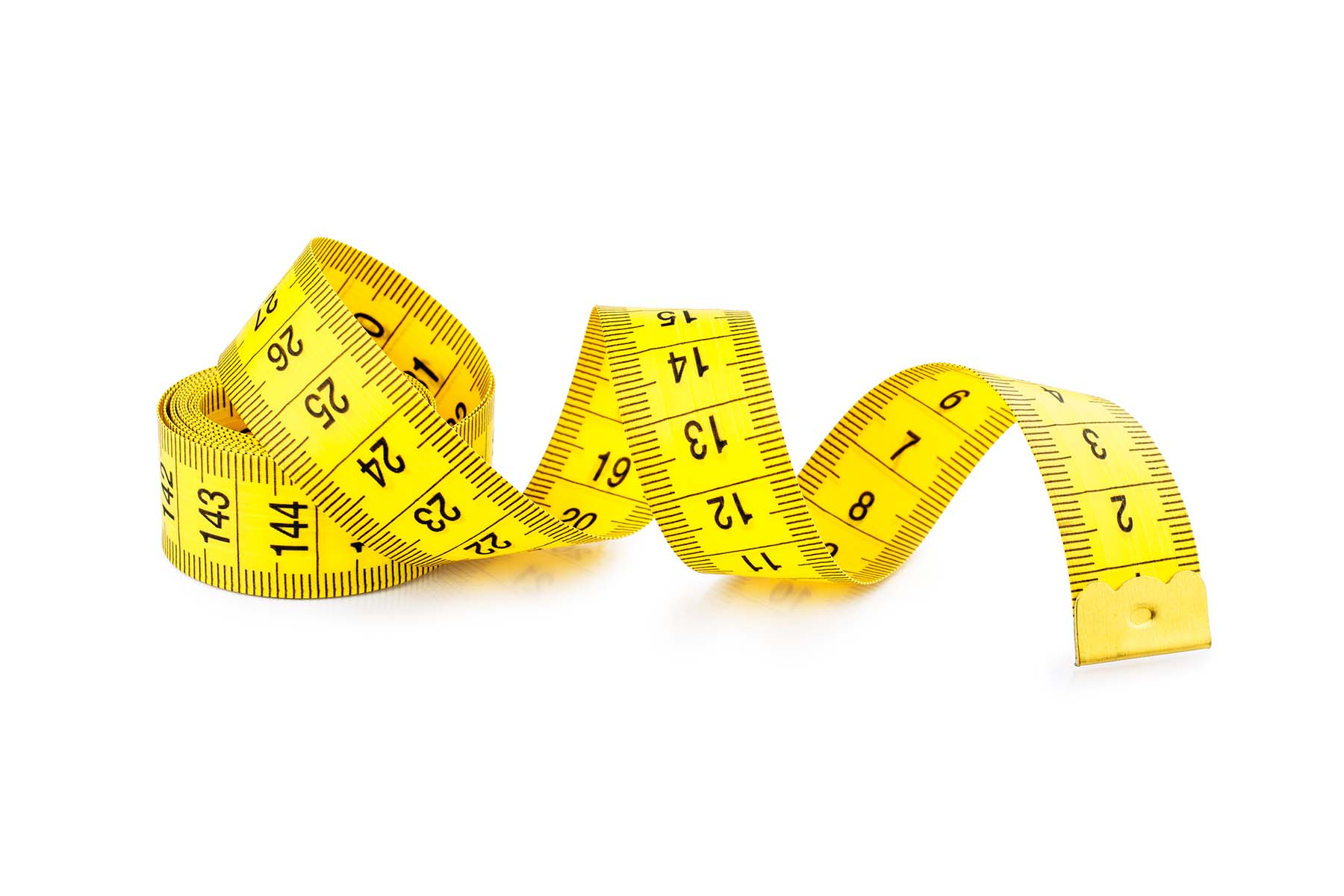 A coiled yellow measuring tape, on a white background.