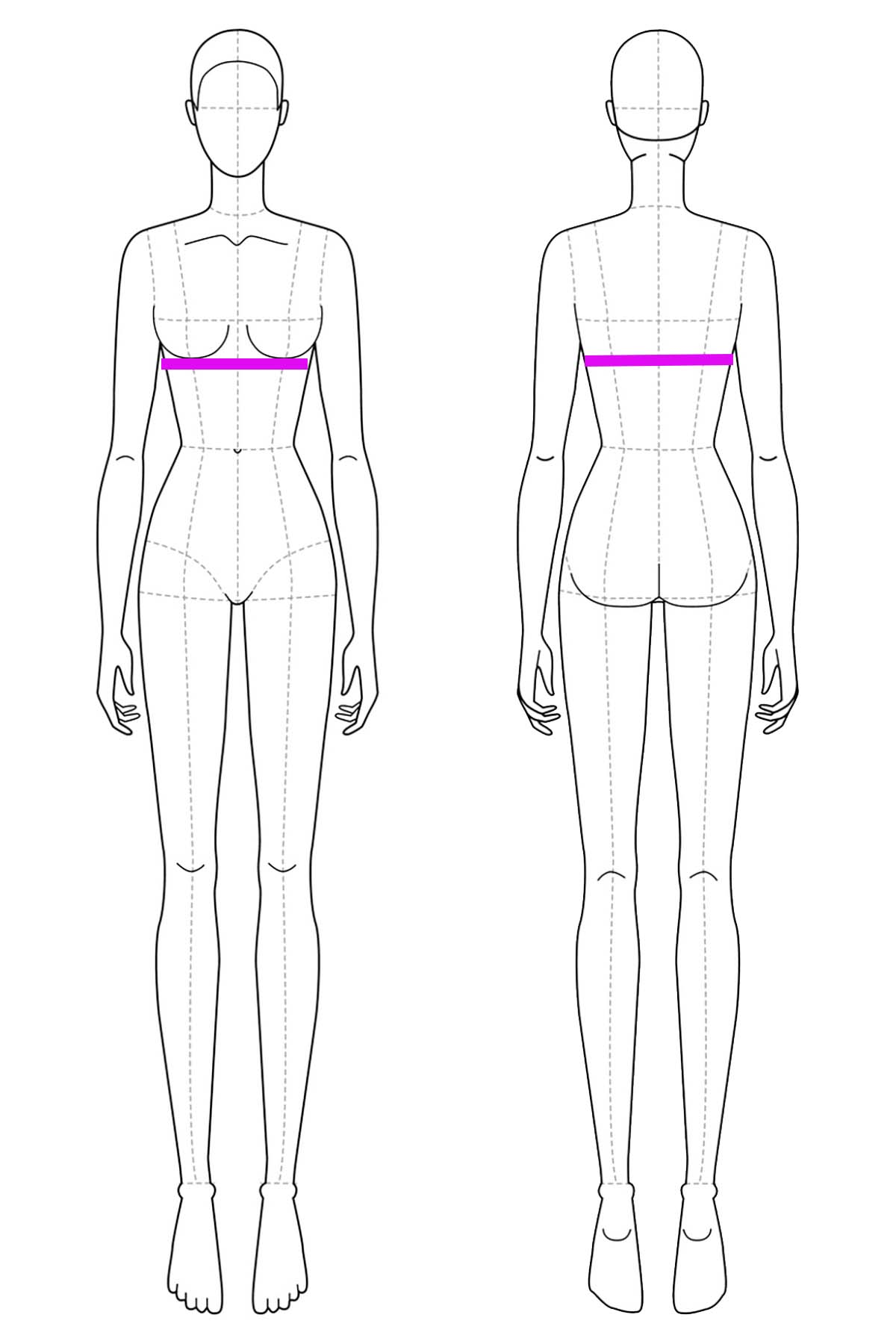 A set of line drawings of a female body, front and back views. Bright pink lines are drawn across it to indicate underbust measurement.