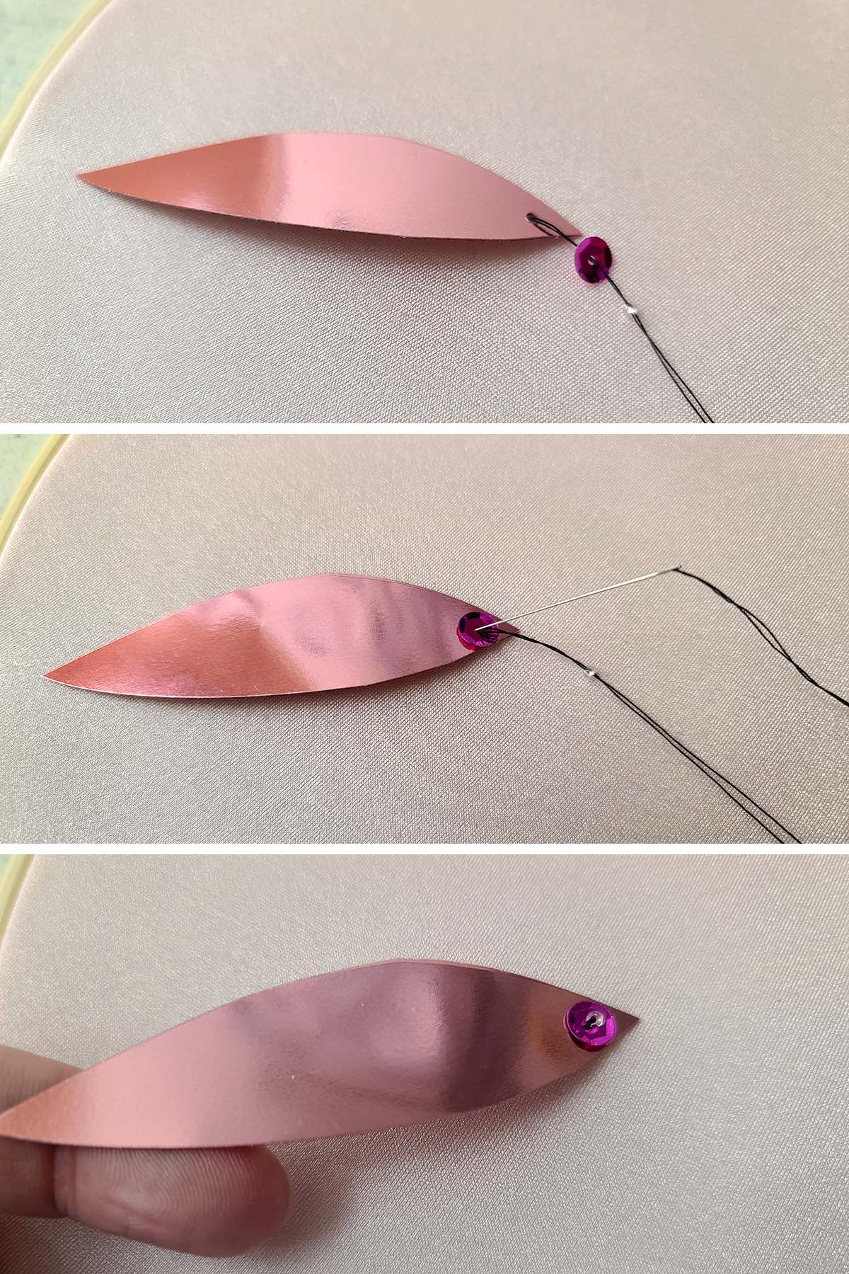 A three part compilation image shows a long leaf shaped pink spangle being sewn to a piece of stretched pink spandex, with a small pink sequin and a seed bead.