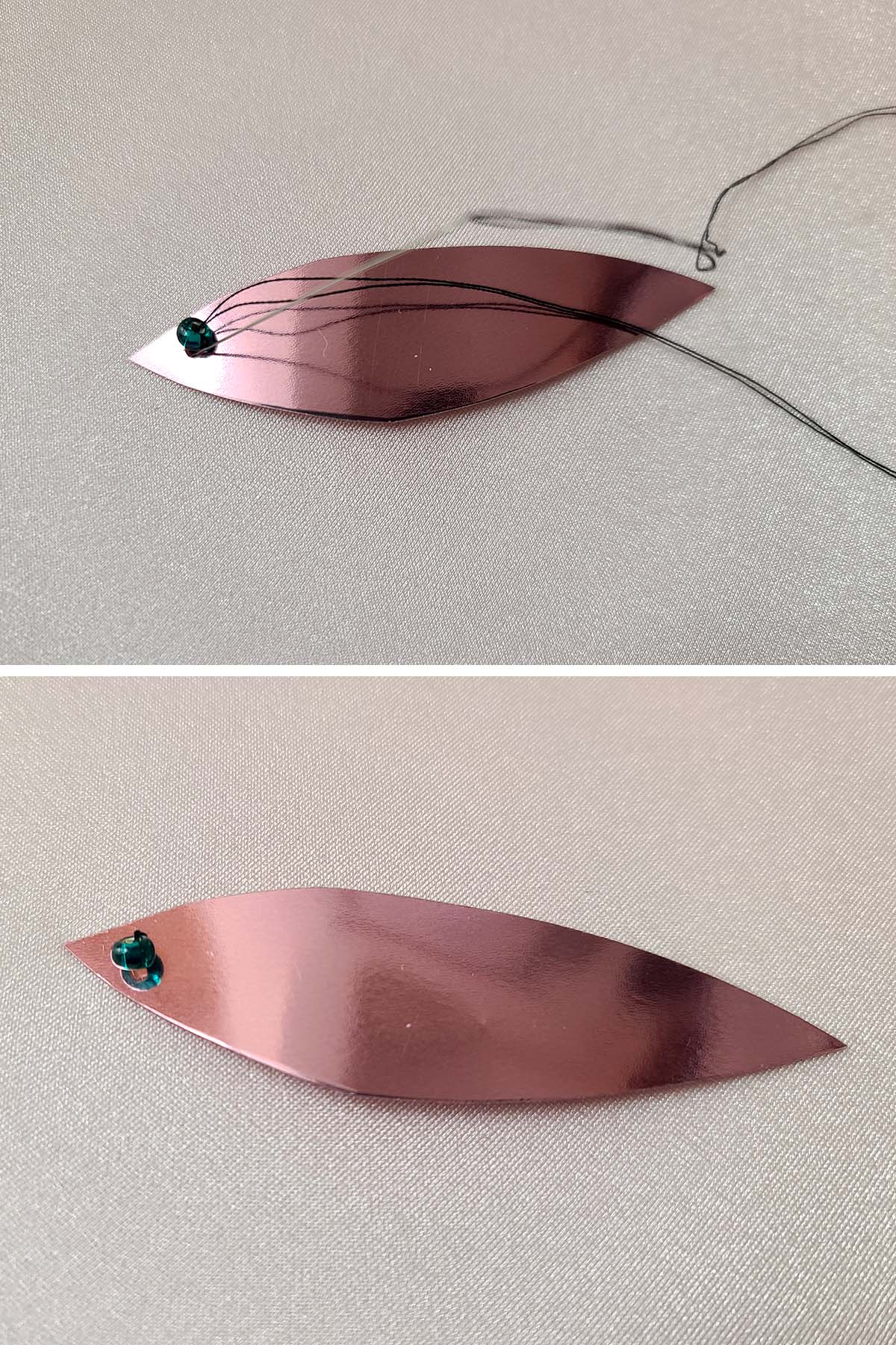 A two part compilation image shows a long leaf shaped pink spangle being sewn to a piece of stretched pink spandex, with a green rocaille bead.