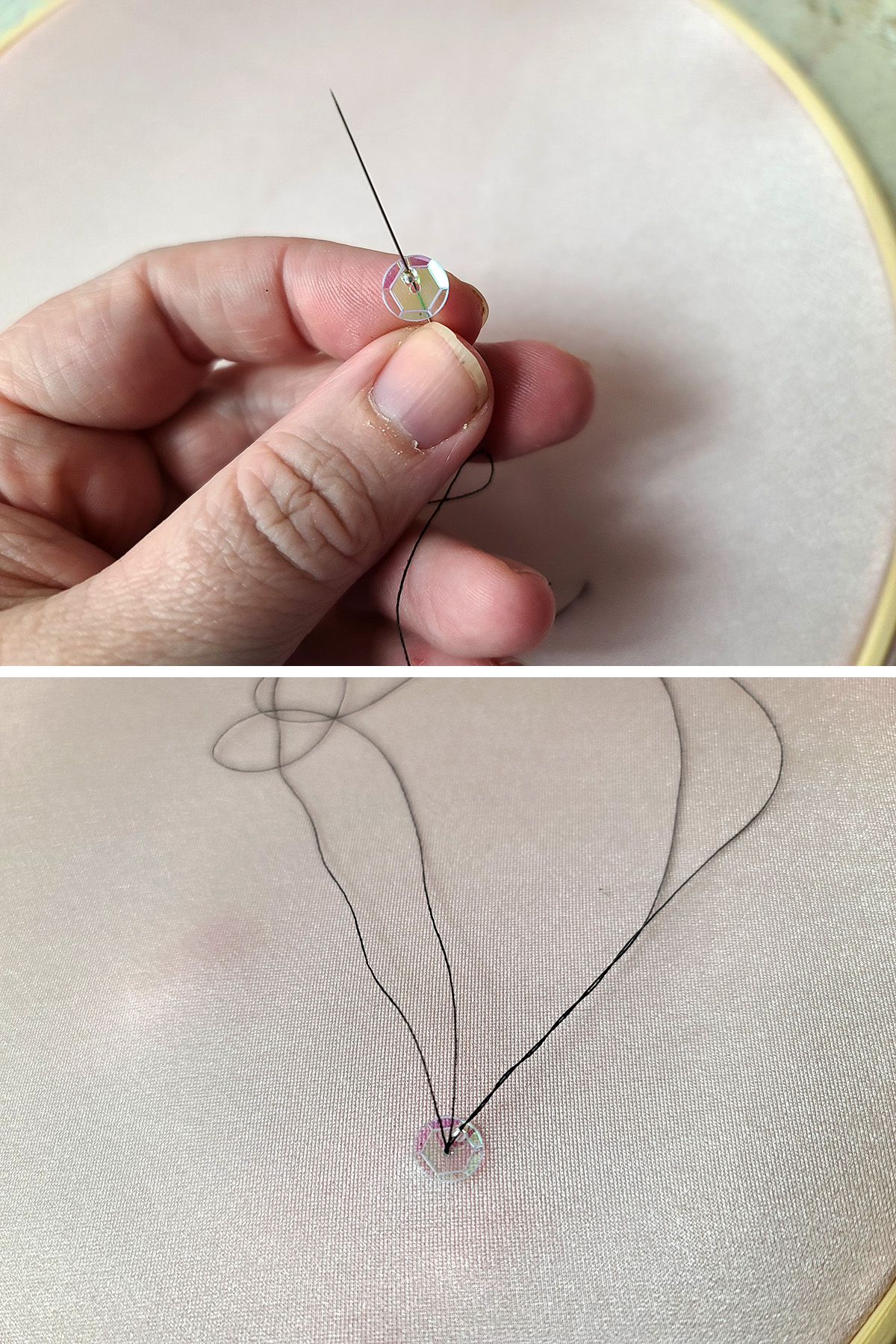 A two part image showing a needle and black thread are shown sewing a clear iridescent sequin to stretched pink spandex.