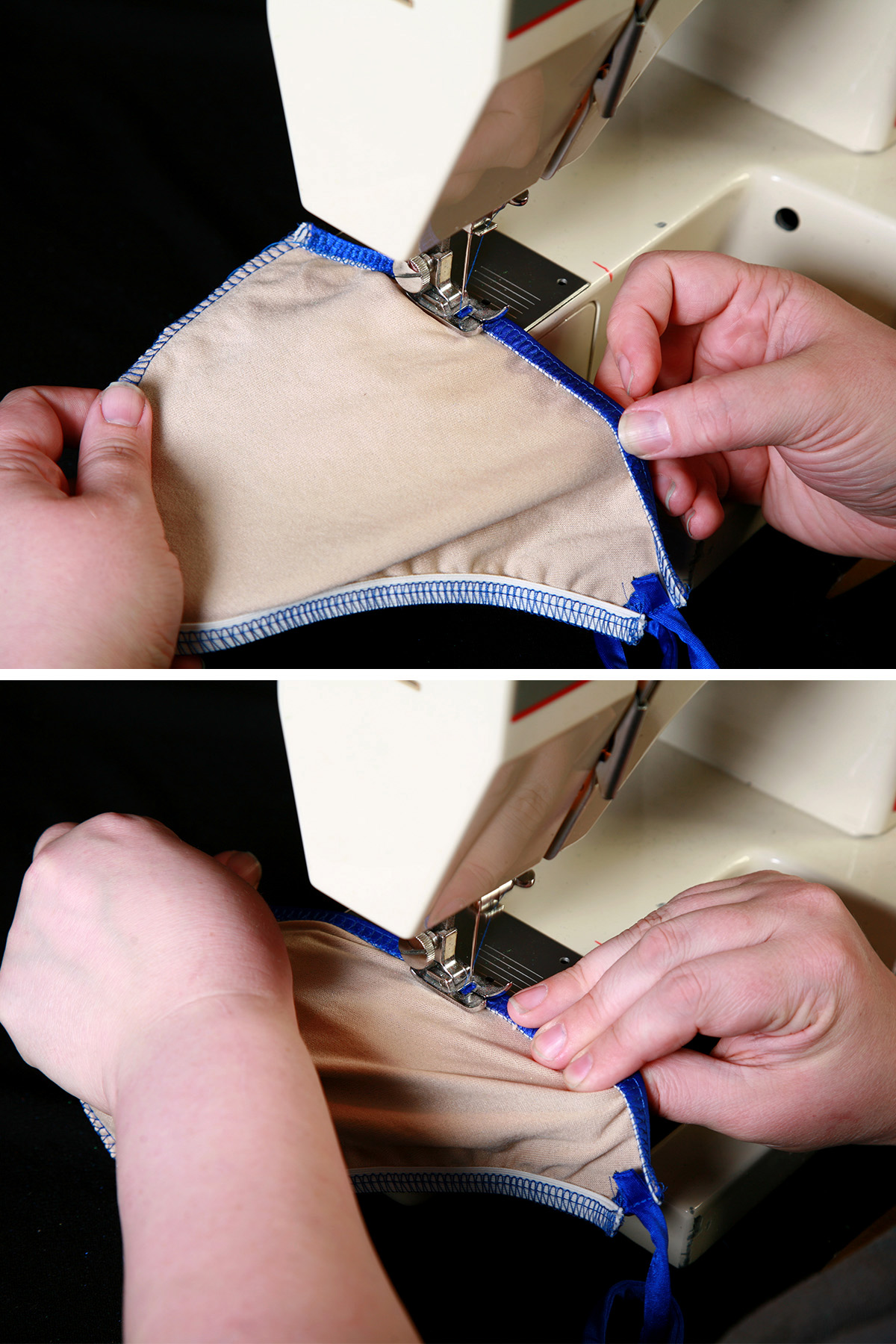 A two part image showing the elastic being folded over and stitched down, as described in the post.