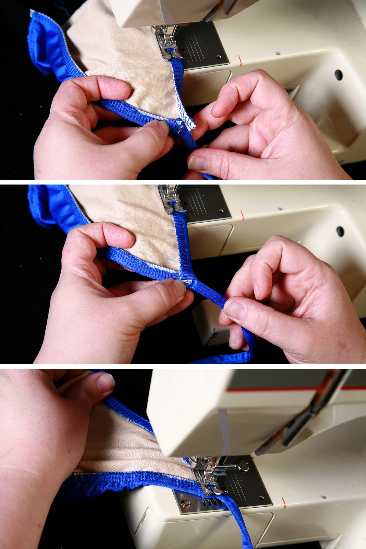 A three part image showing the elastic being folded over and stitched down, as described in the post.