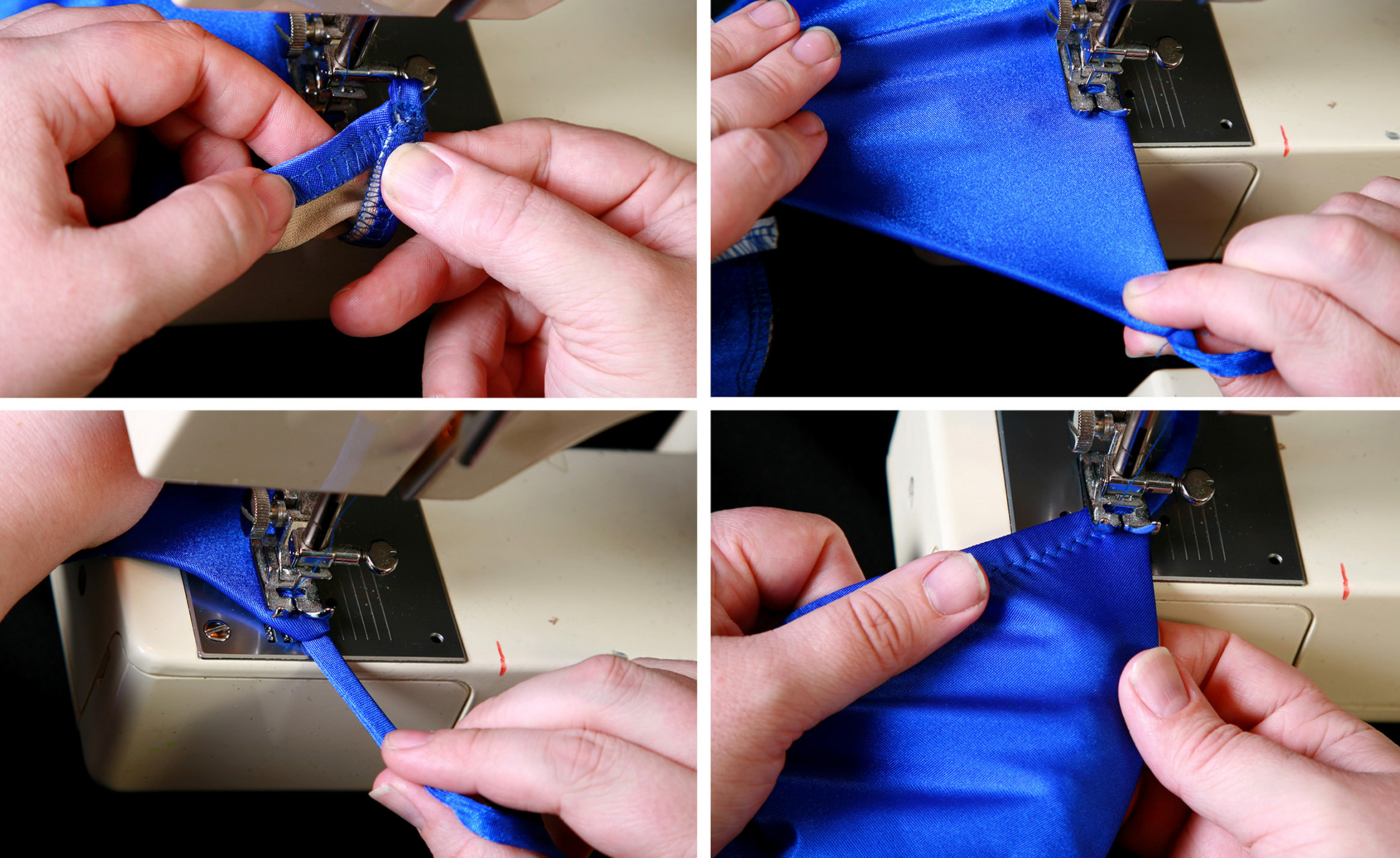 A four part image showing the elastic being folded over and stitched down, as described in the post.