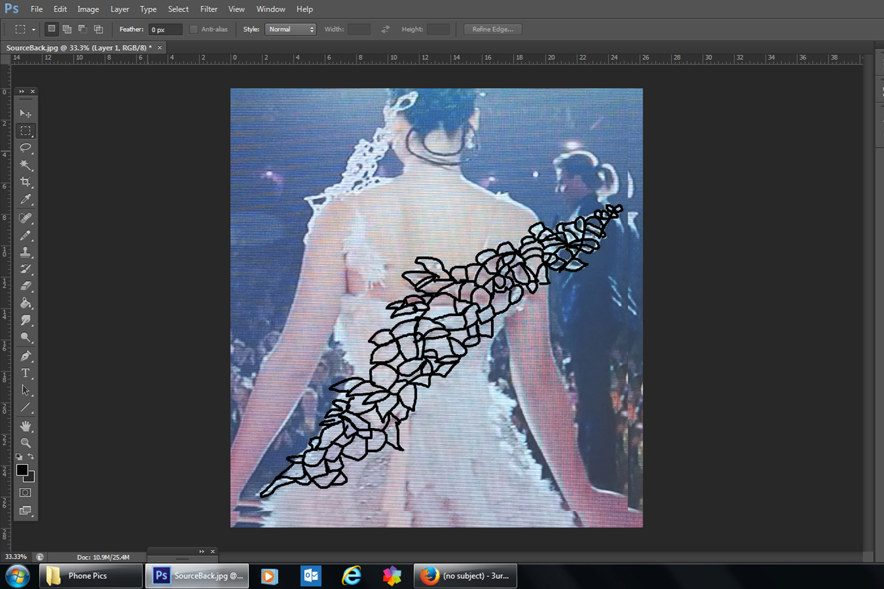 A screen shot of photoshop, with Katniss's wedding gown showing.  The wing area has been drawn over in black.